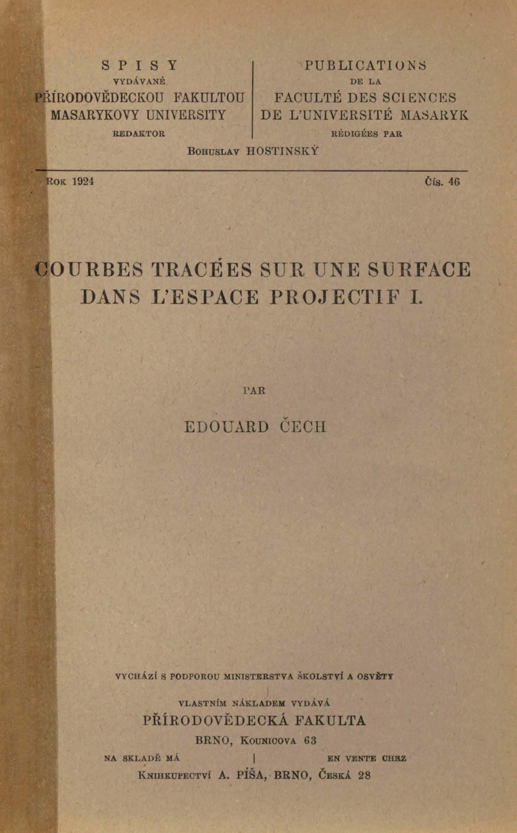 Obálka pro Courbes tracées sur une suface dans l´espace projectif I