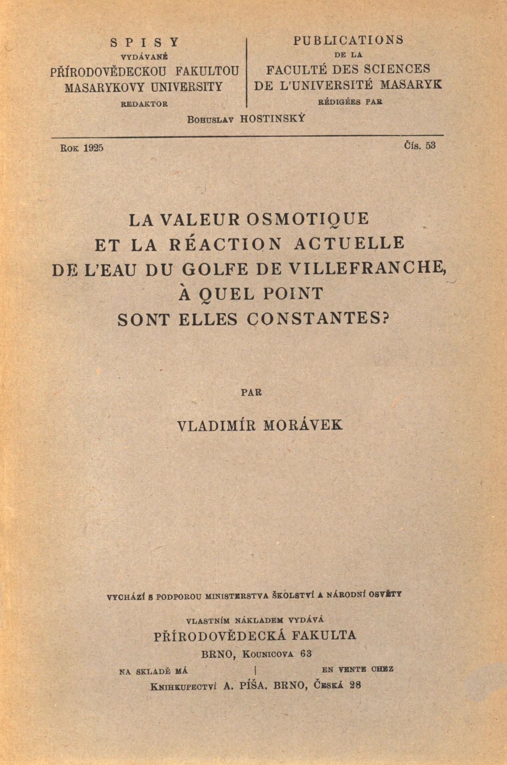 Obálka pro La valeur osmotique et la réaction actuelle de l'eaur du golfe de villefranche, á quel point sont elles constantes?
