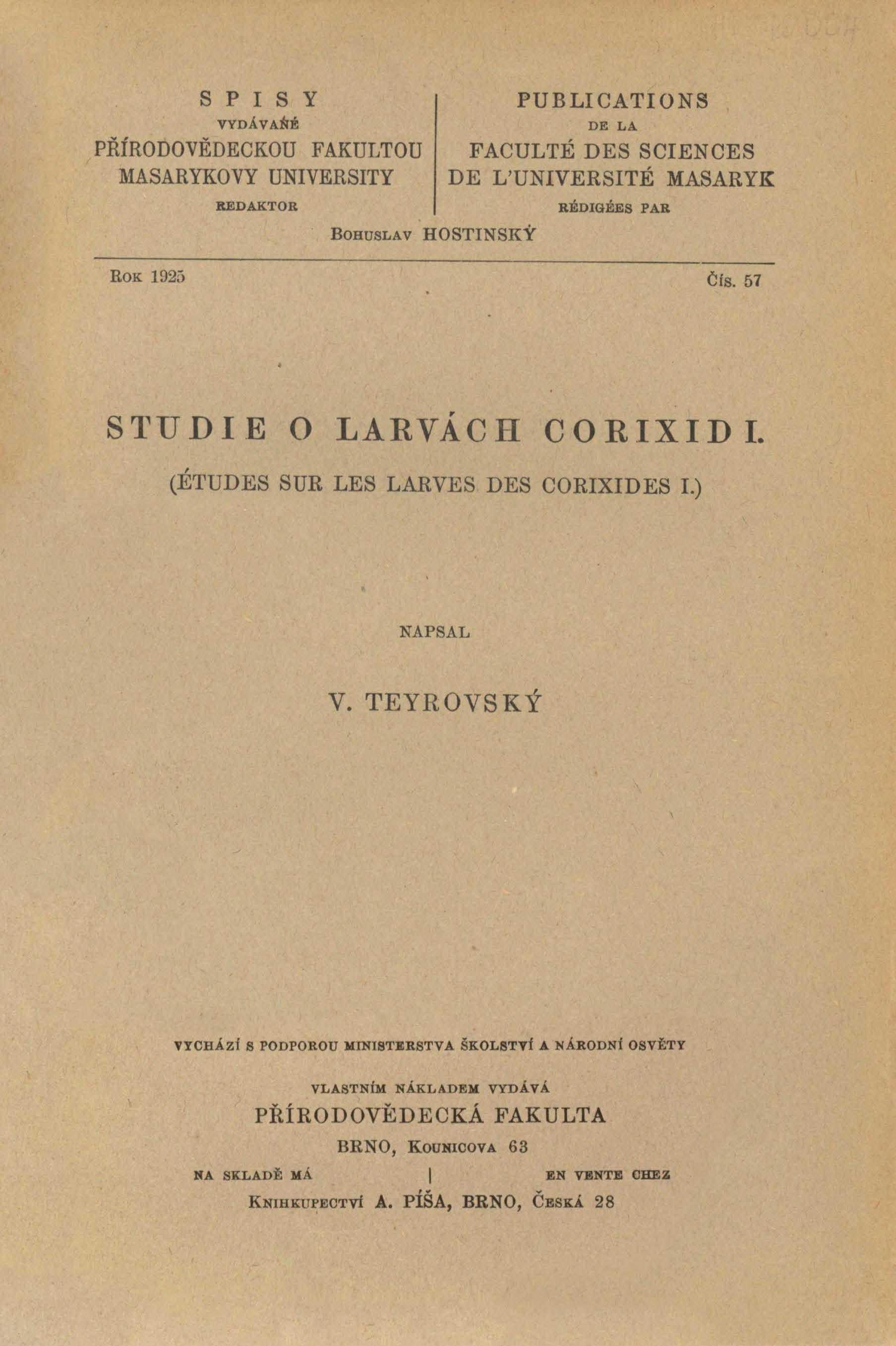 Obálka pro Studie o larvách corixid. I.