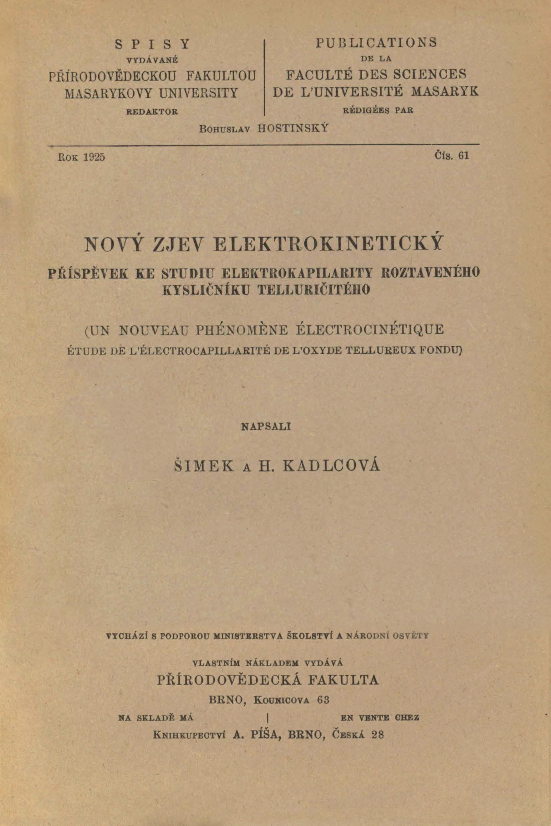 Obálka pro Nový zjev elektrokinetický : příspěvek ke studiu elektrokapilarity roztaveného kysličníku telluričitého