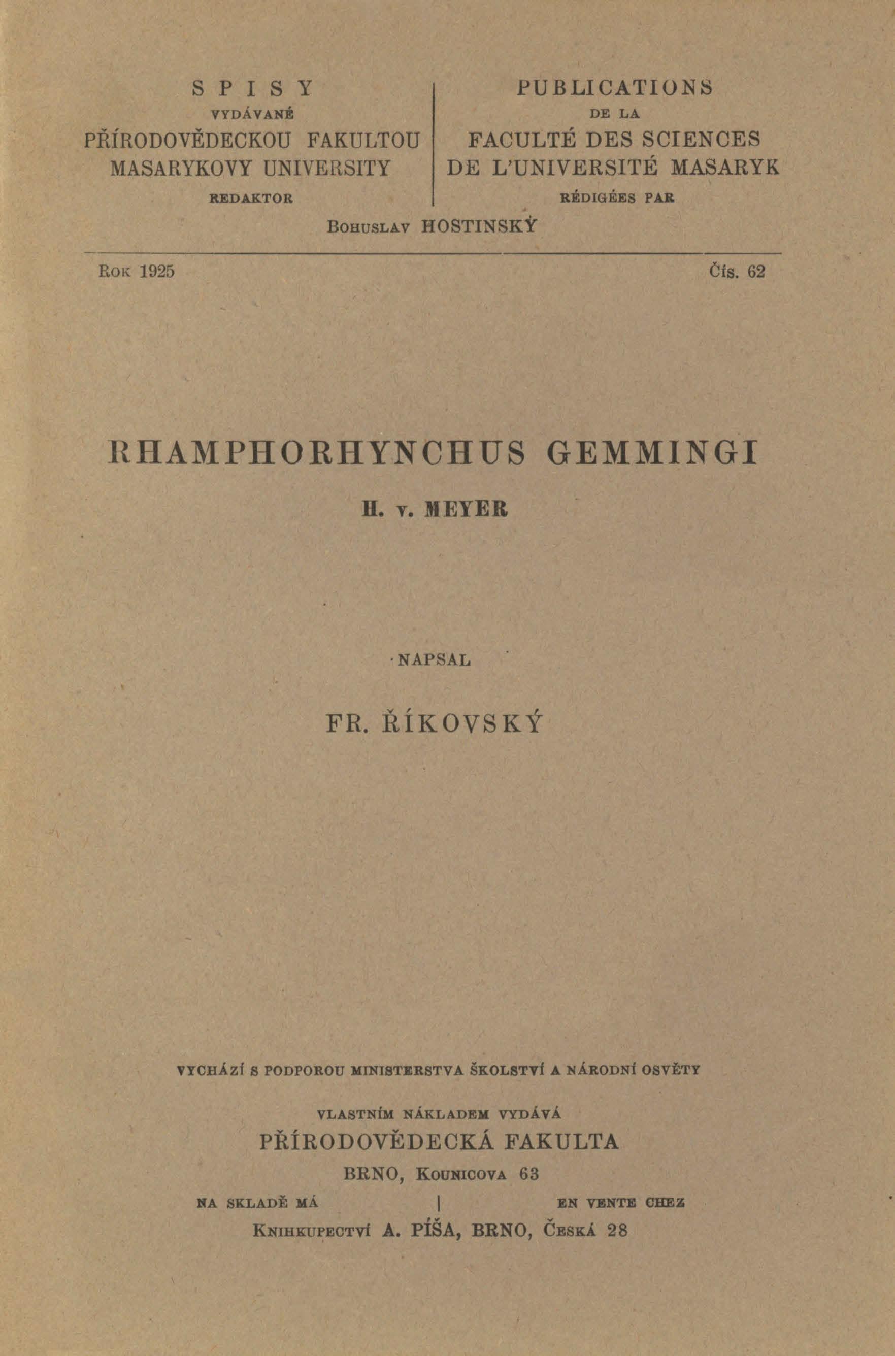 Obálka pro Rhamphorhynchus gemmingi : H. v. Meyer