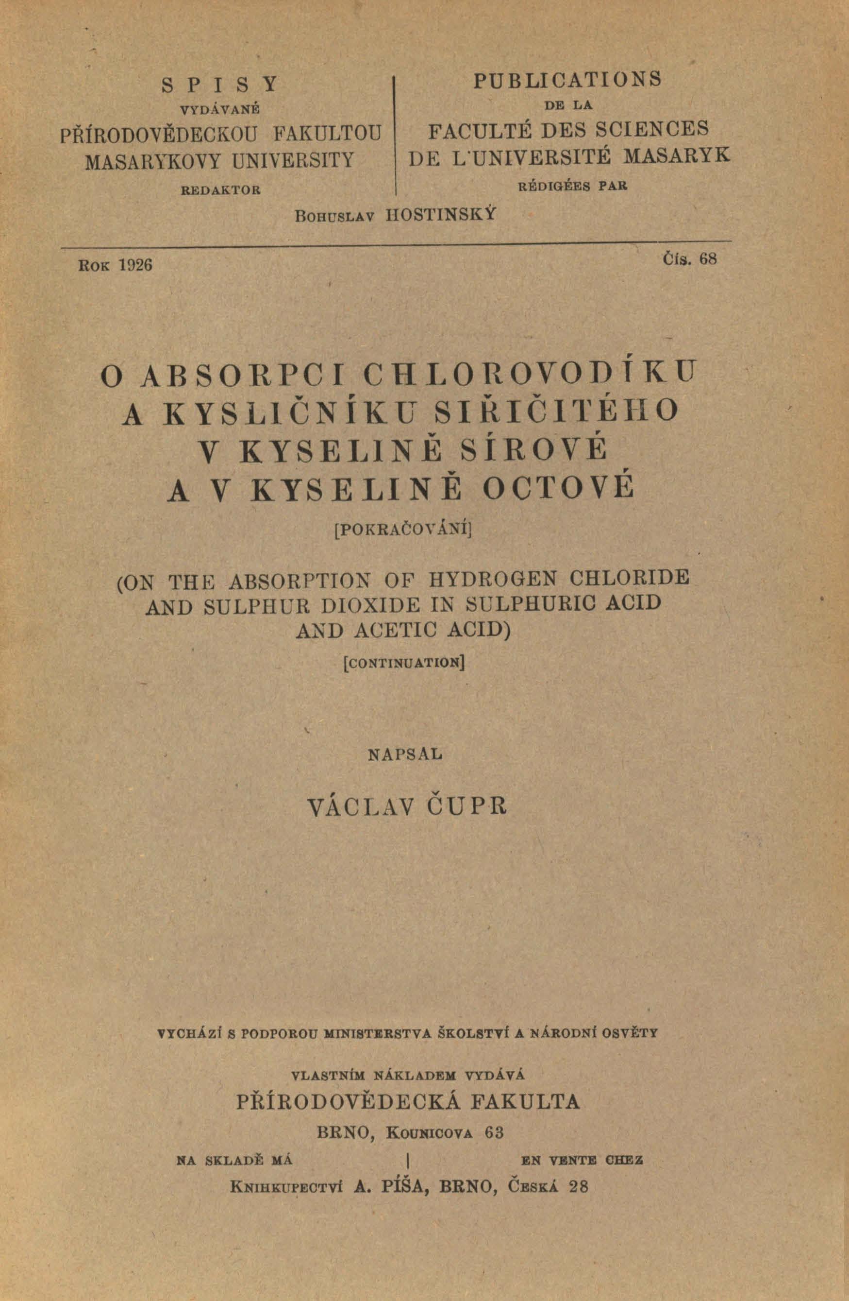 Obálka pro O absorpci chlorovodíku a kysličníku siřičitého v kyselině sírové a v kyselině octové