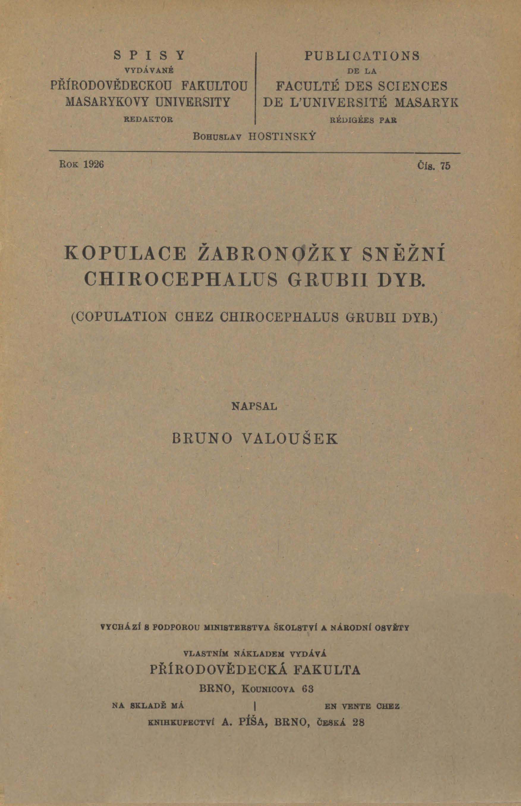 Obálka pro Kopulace žabronožky sněžní Chirocephalus Grubii Dyb.