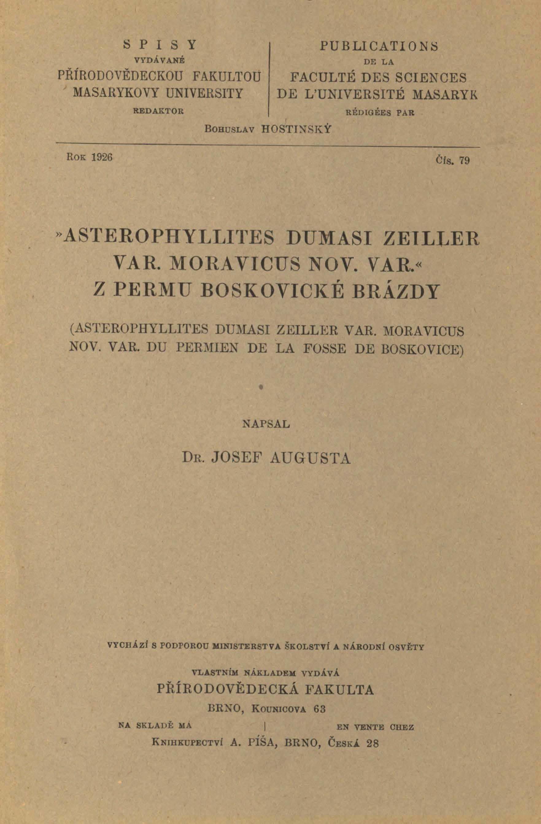 Obálka pro Asterophyllites Dumasi Zeiller var. moravicus nov. var. z permu boskovické brázdy
