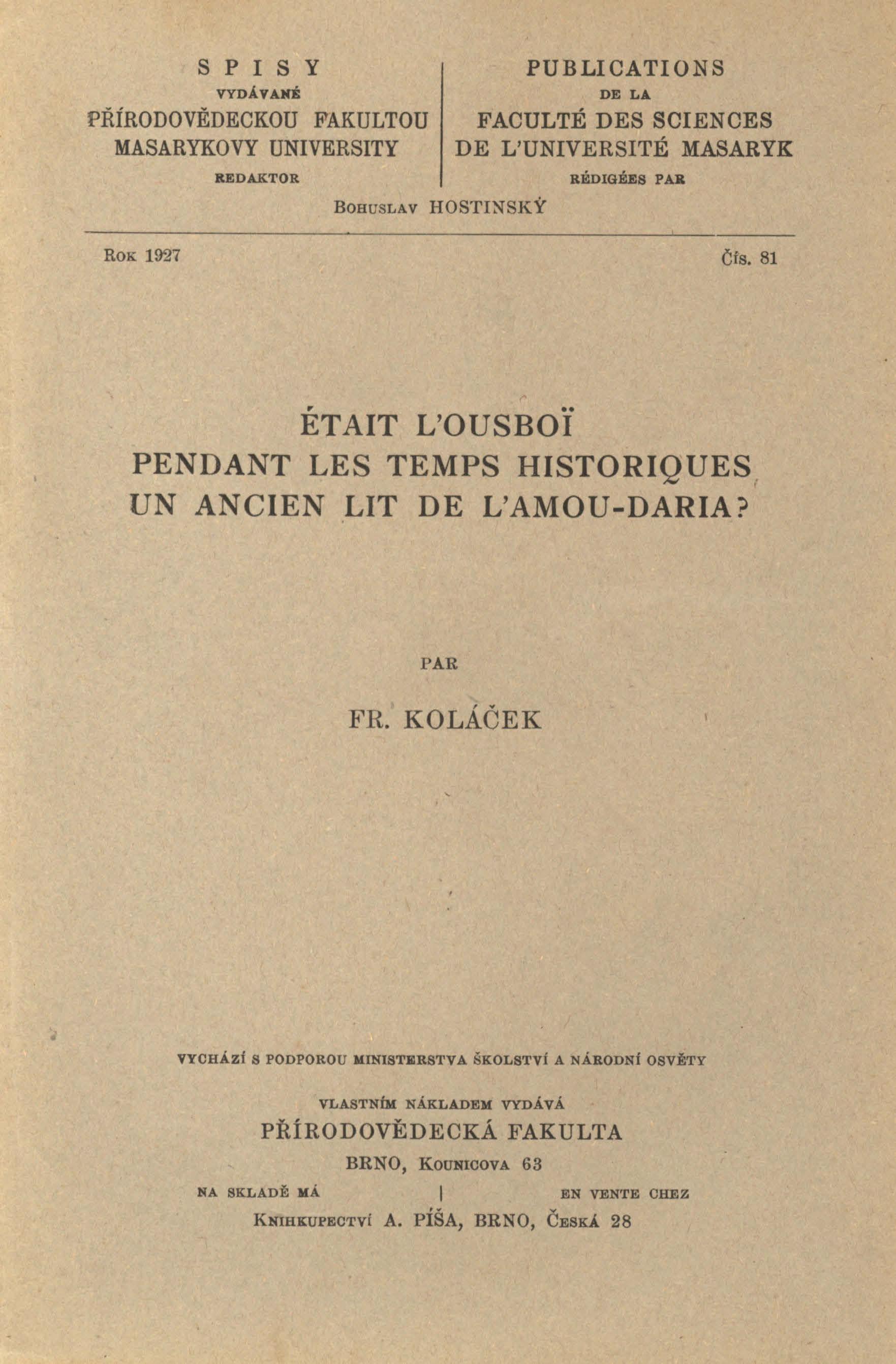 Obálka pro Était l'Ousboï pendant les temps historiques un ancien lit de l'Amou-Daria?