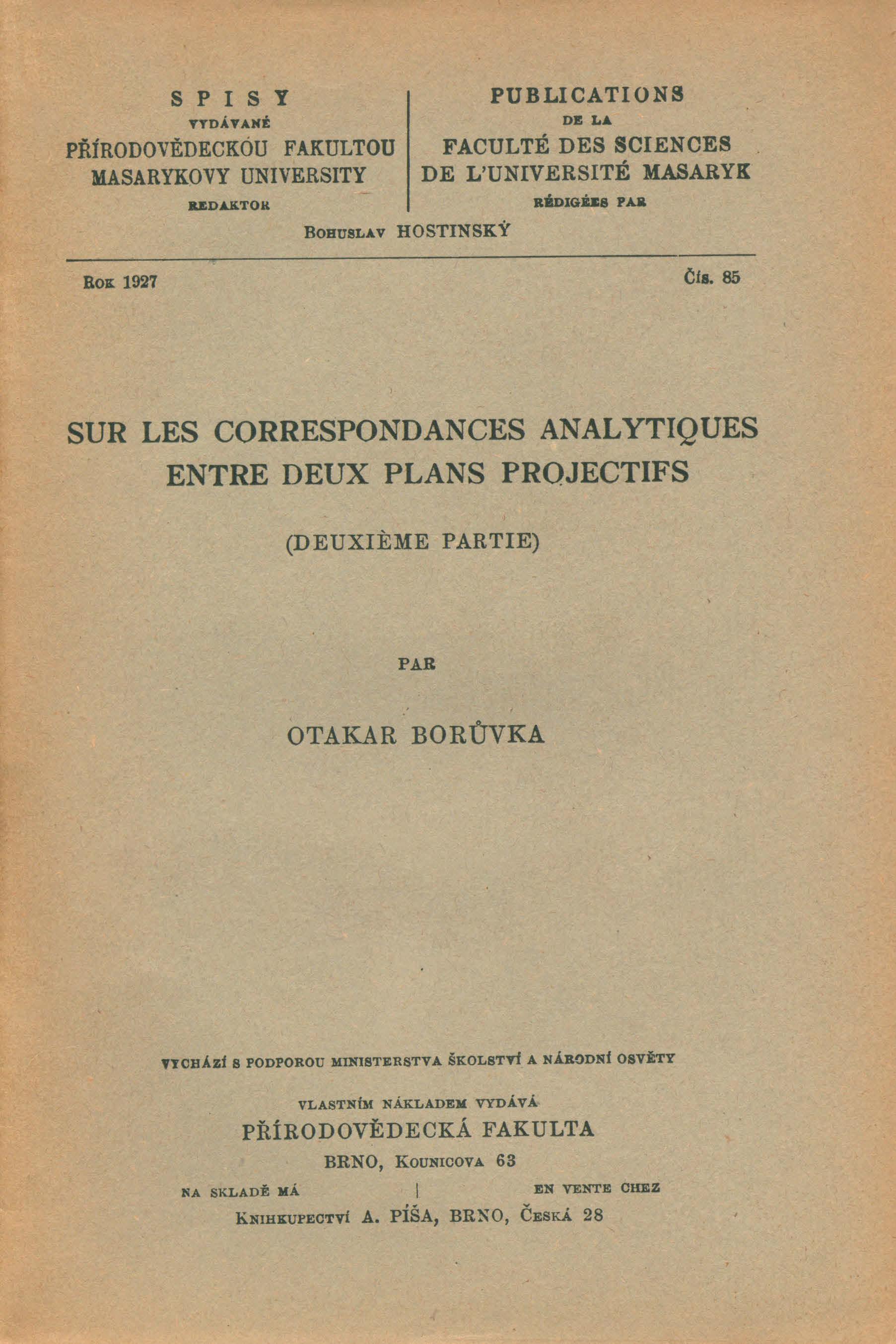 Obálka pro Sur les correspondances analytiques entre deux plans projectifs. Deuxiéme partie