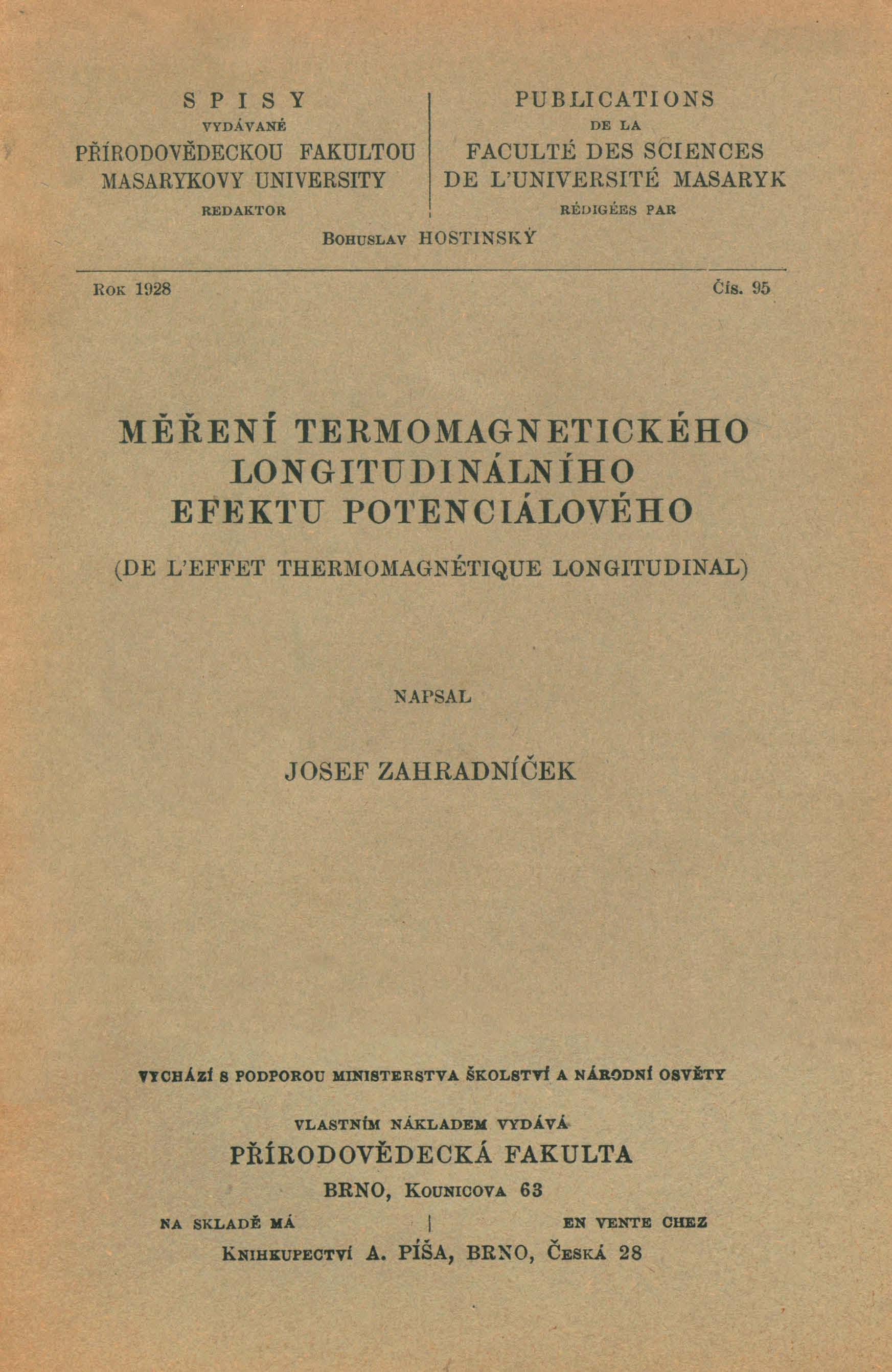 Obálka pro Měření termomagnetického longitudinálního efektu potenciálového