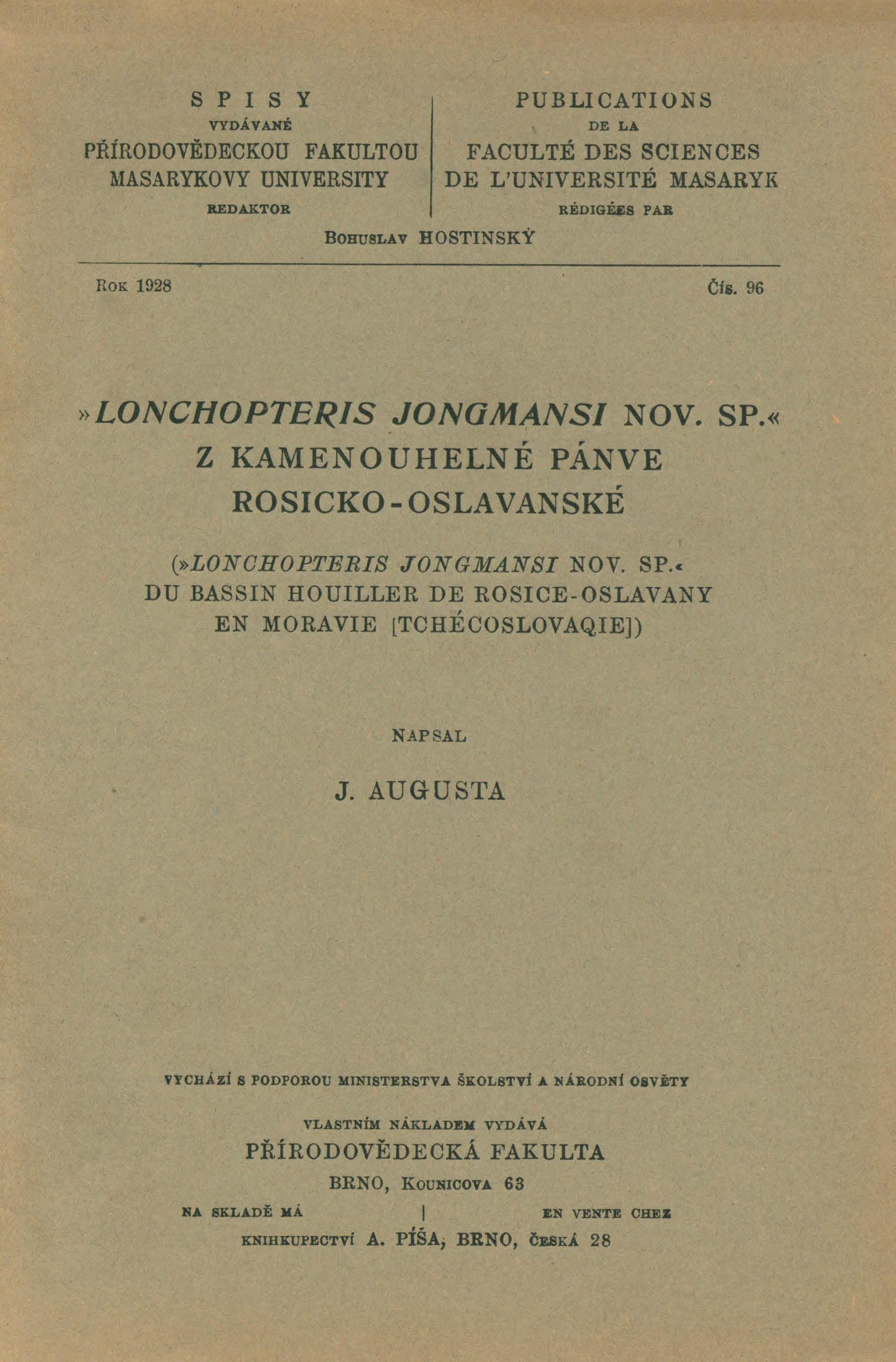 Obálka pro Lonchopteris Jongmansi nov. sp. z kamenouhelné pánve rosicko-oslavanské