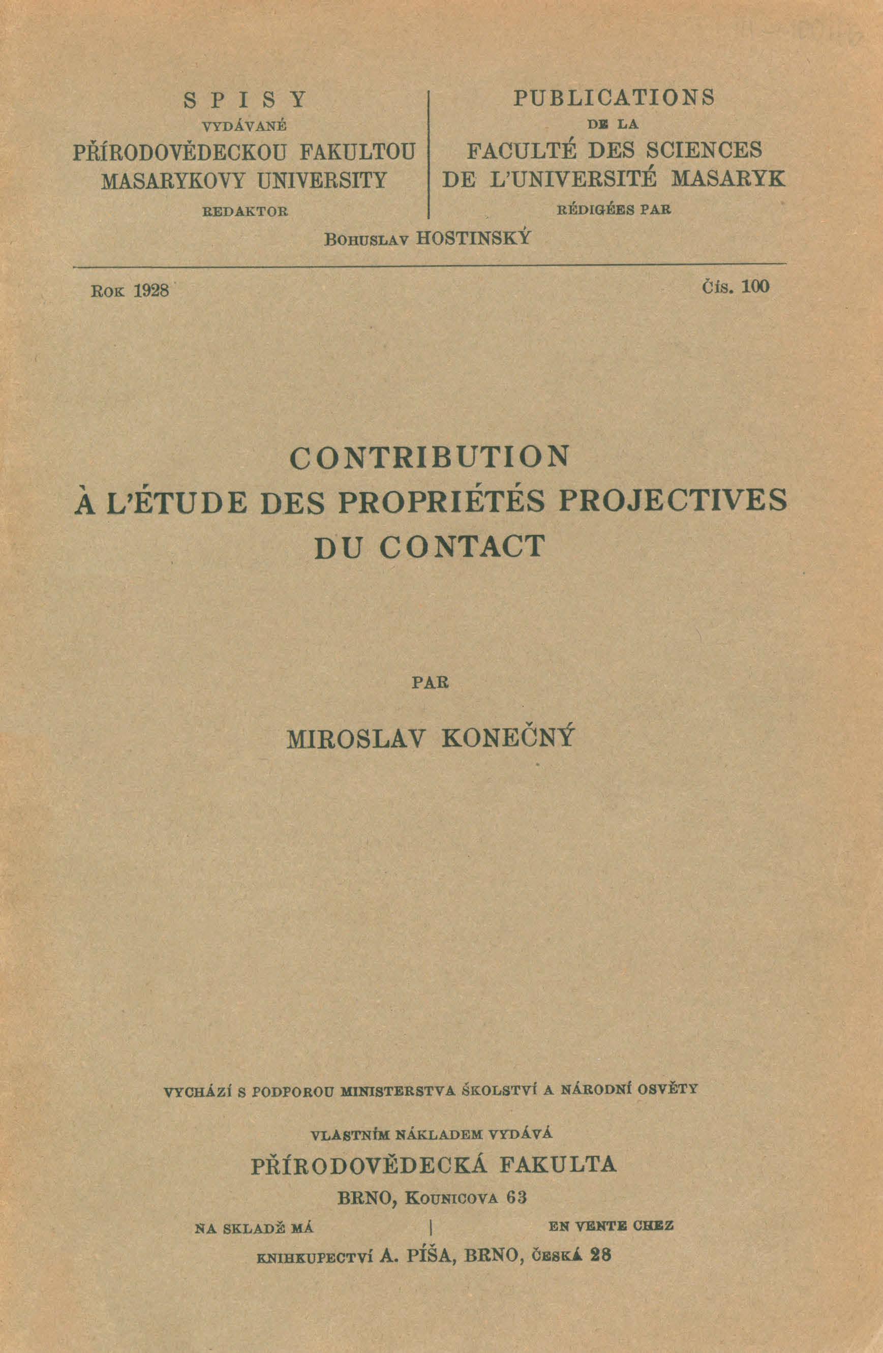 Obálka pro Contribution à l'étude des propriétés projectives du contact
