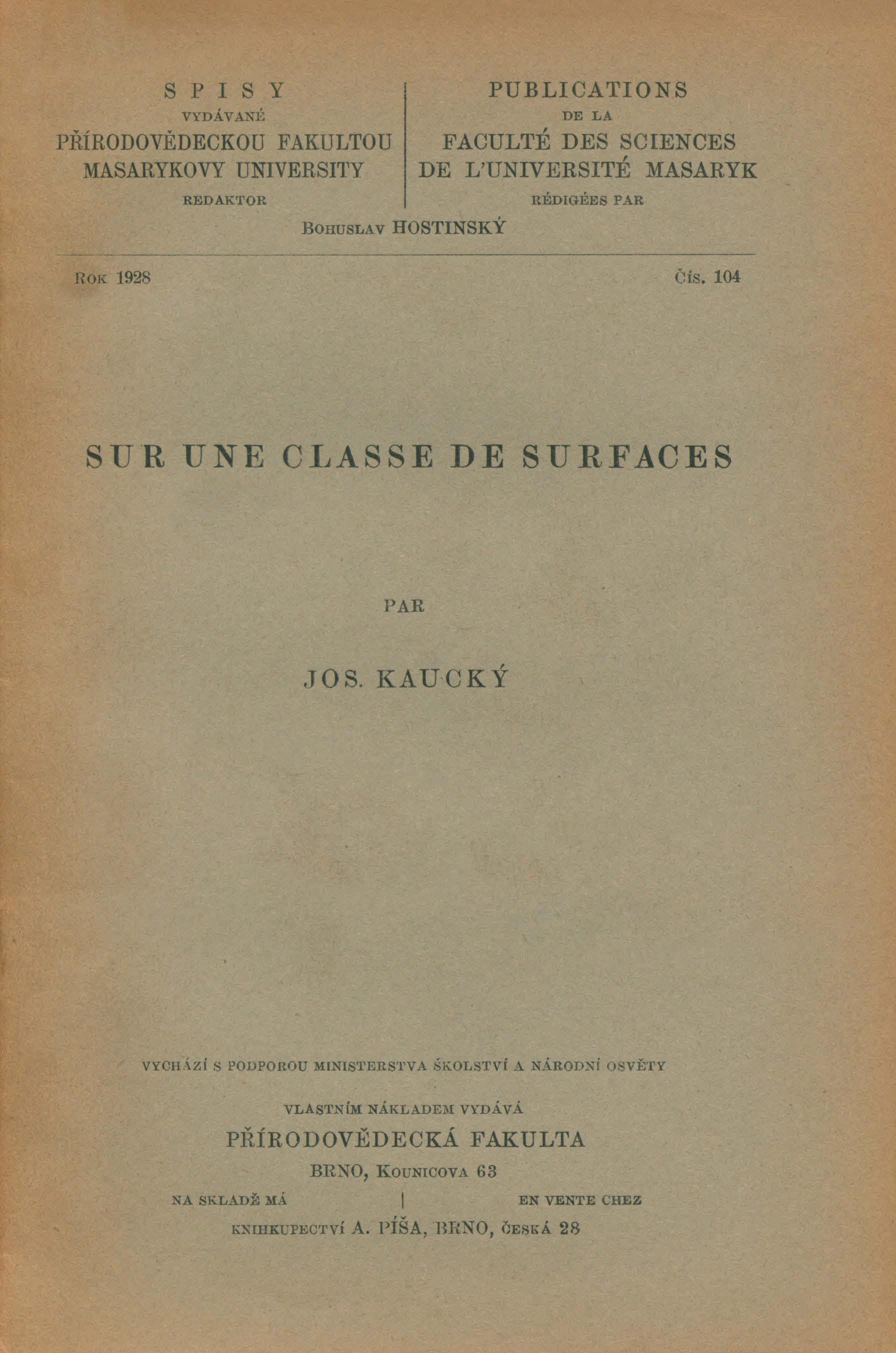 Obálka pro Sur une classe de surfaces