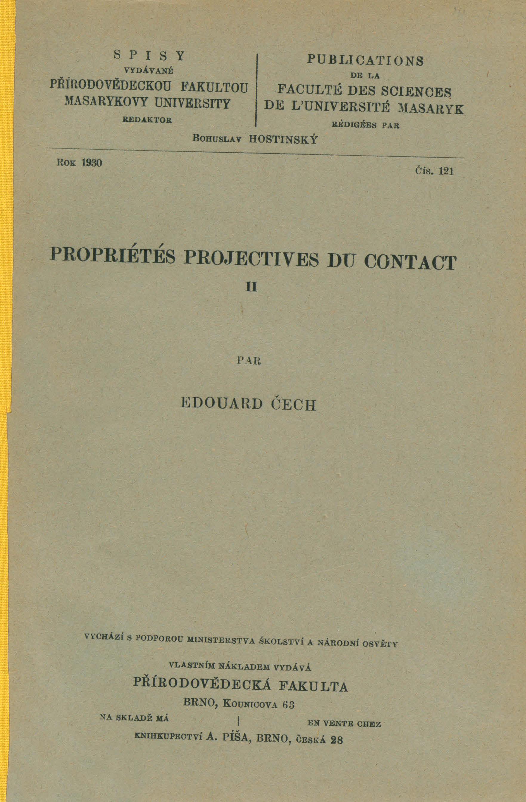 Obálka pro Propriétés projectives du contact. II.
