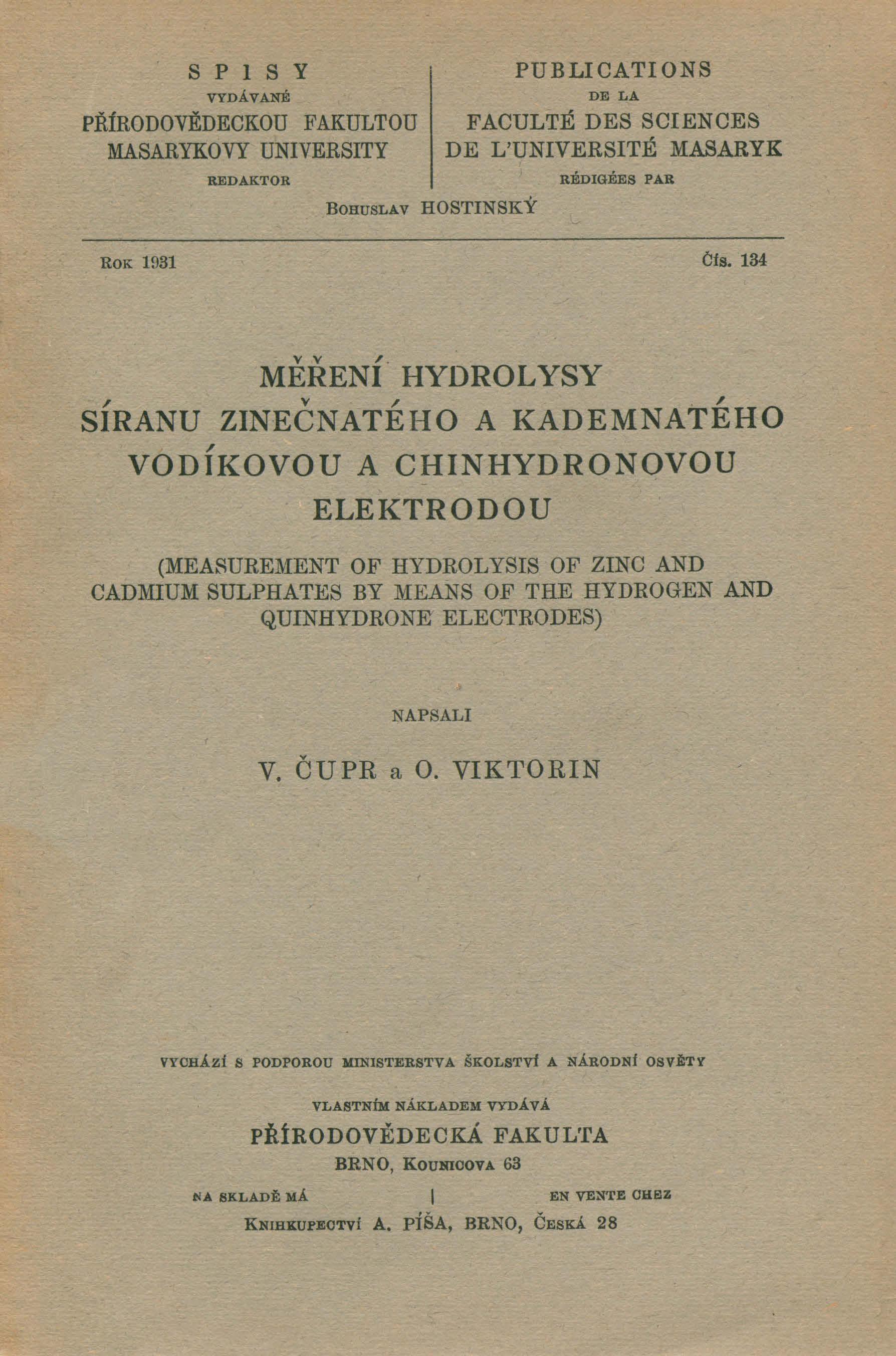 Obálka pro Měření hydrolysy síranu zinečnatého a kademnatého vodíkovou a chinhydronovou elektrodou