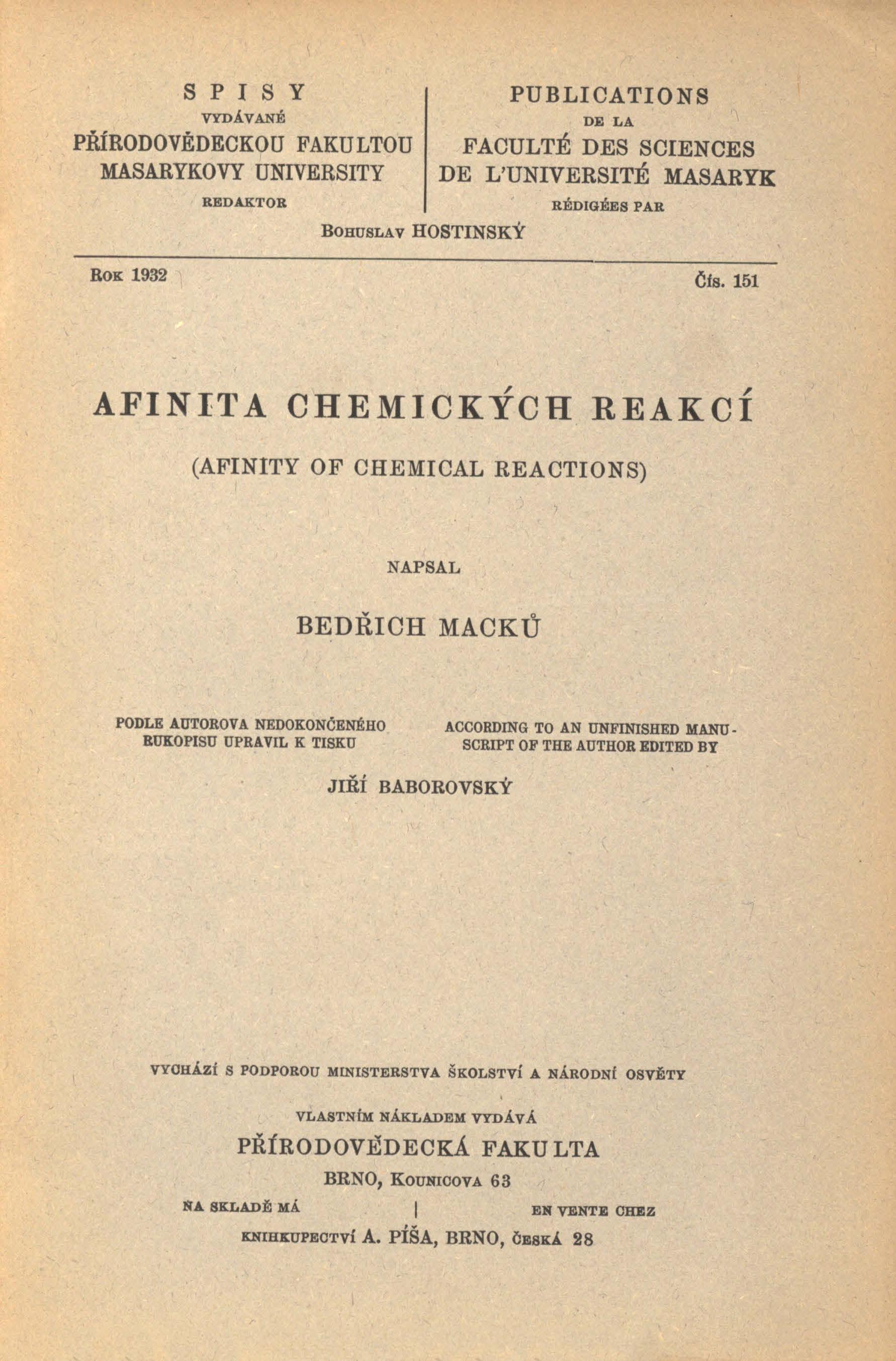 Obálka pro Afinita chemických reakcí