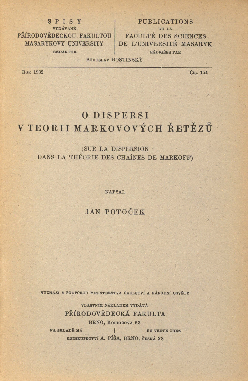 Obálka pro O dispersi v teorii Markových řetězů