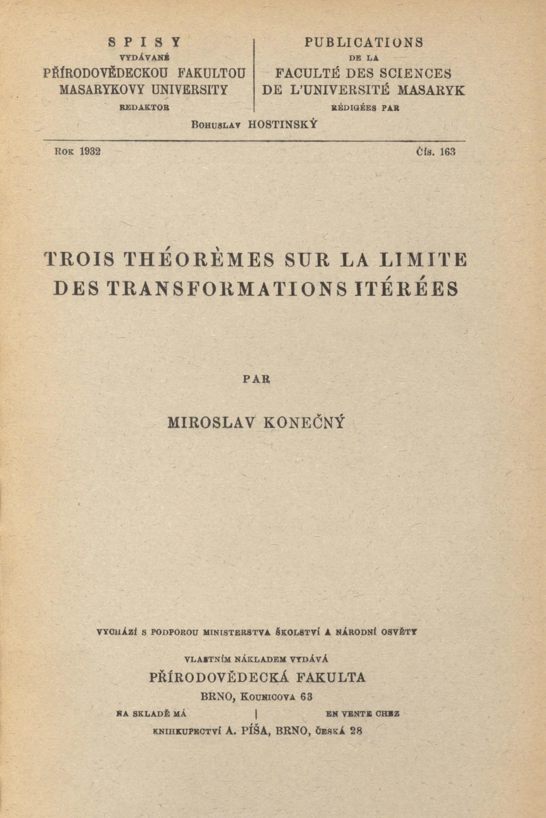 Obálka pro Trois théoremes sur la limite des transofrmations itérées