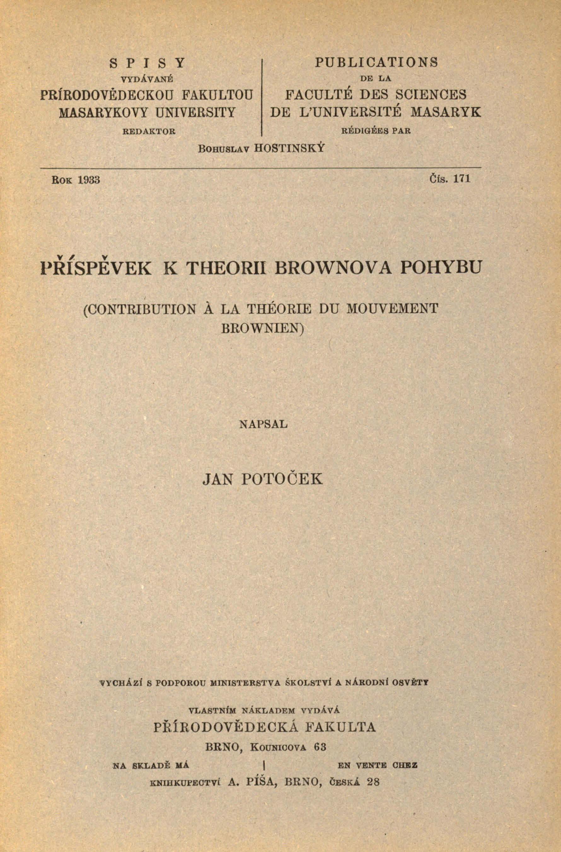 Obálka pro Příspěvek k theorii Brownova pohybu