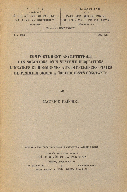 Obálka pro Comportement asymptotique des solutions d'un système d'équations linéaires et homogènes aux difficients constants