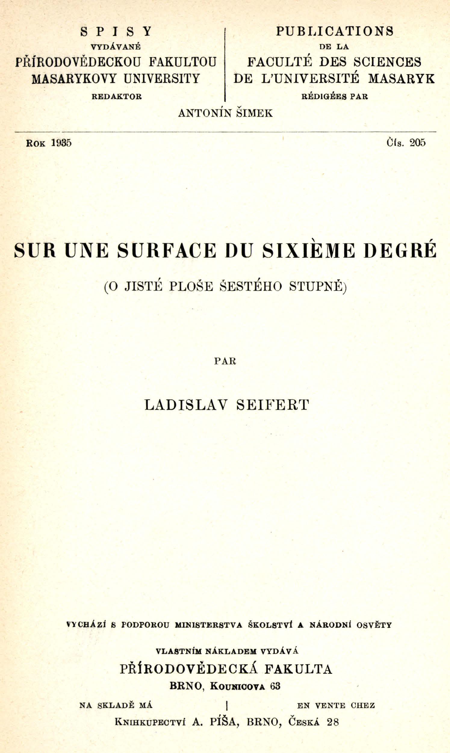 Obálka pro Sur une surface du sixième degré