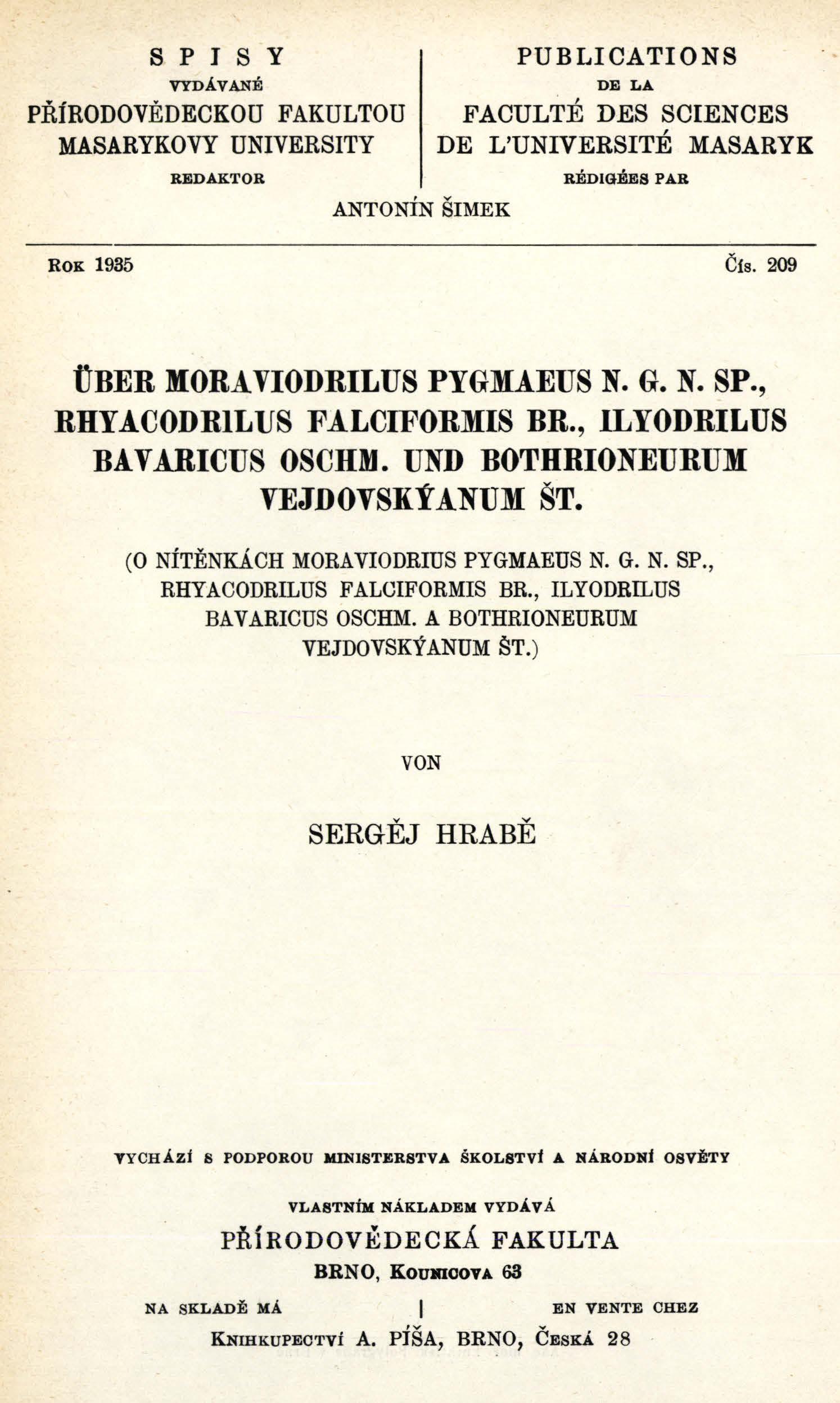Obálka pro Über Moraviodrilus pygmaeus n. g. n. sp., Rhyacodrilus falciformis br., Ilyodrilus bavaricus oschm. und Bothrioneurum vejdovskýanum št.