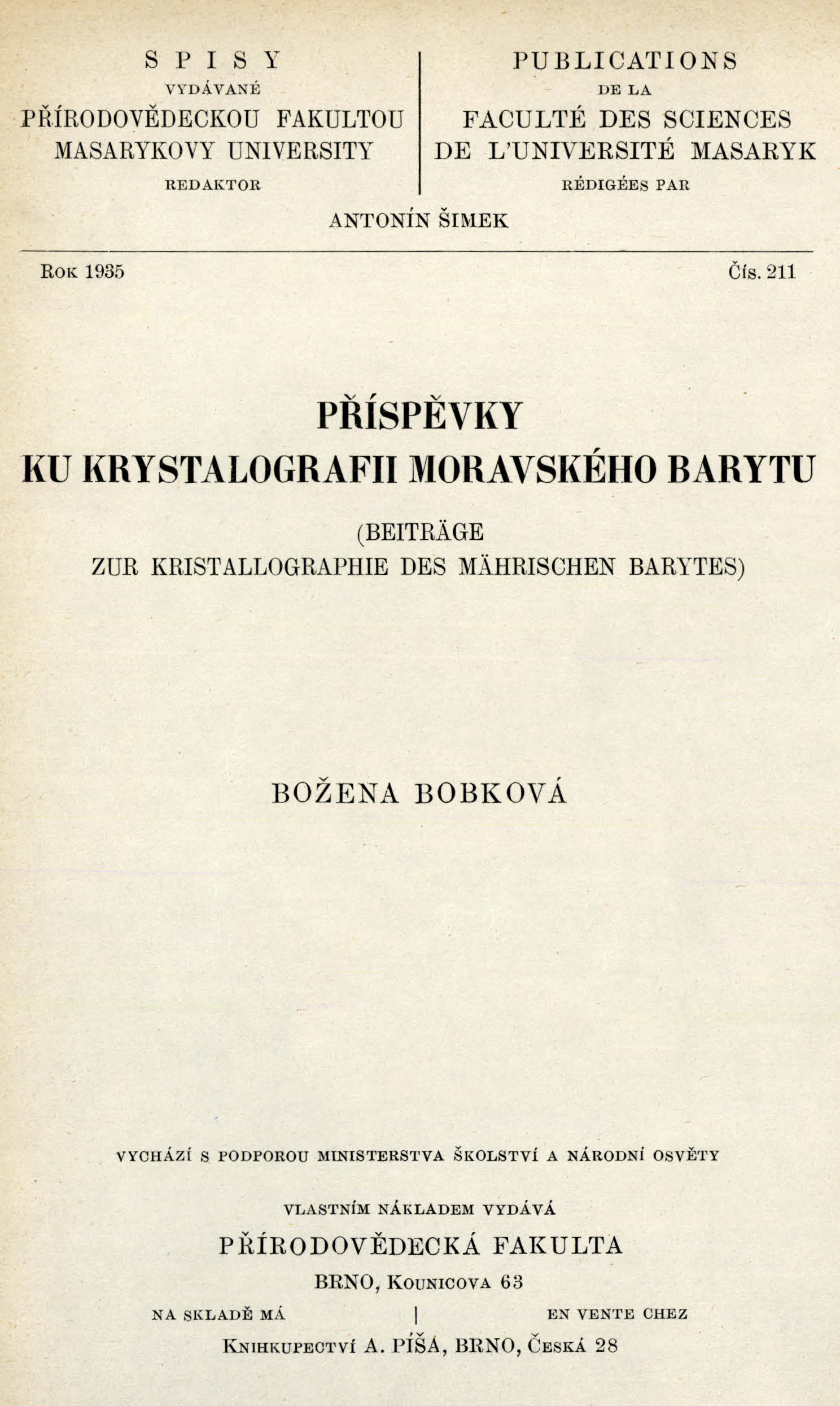 Obálka pro Příspěvky ku krystalografii moravského barytu