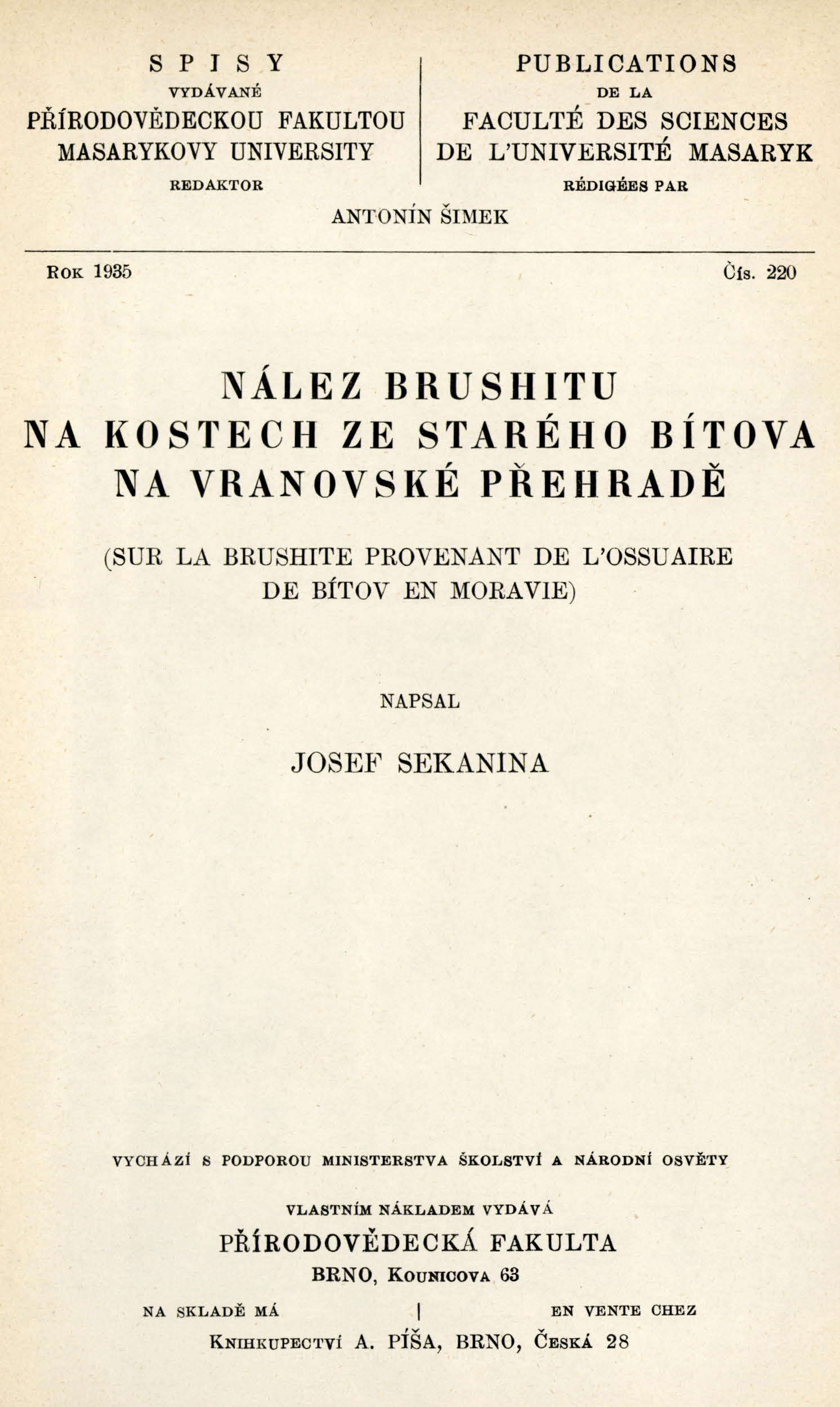 Obálka pro Nález brushitu na kostech ze starého Bítova na Vranovské přehradě