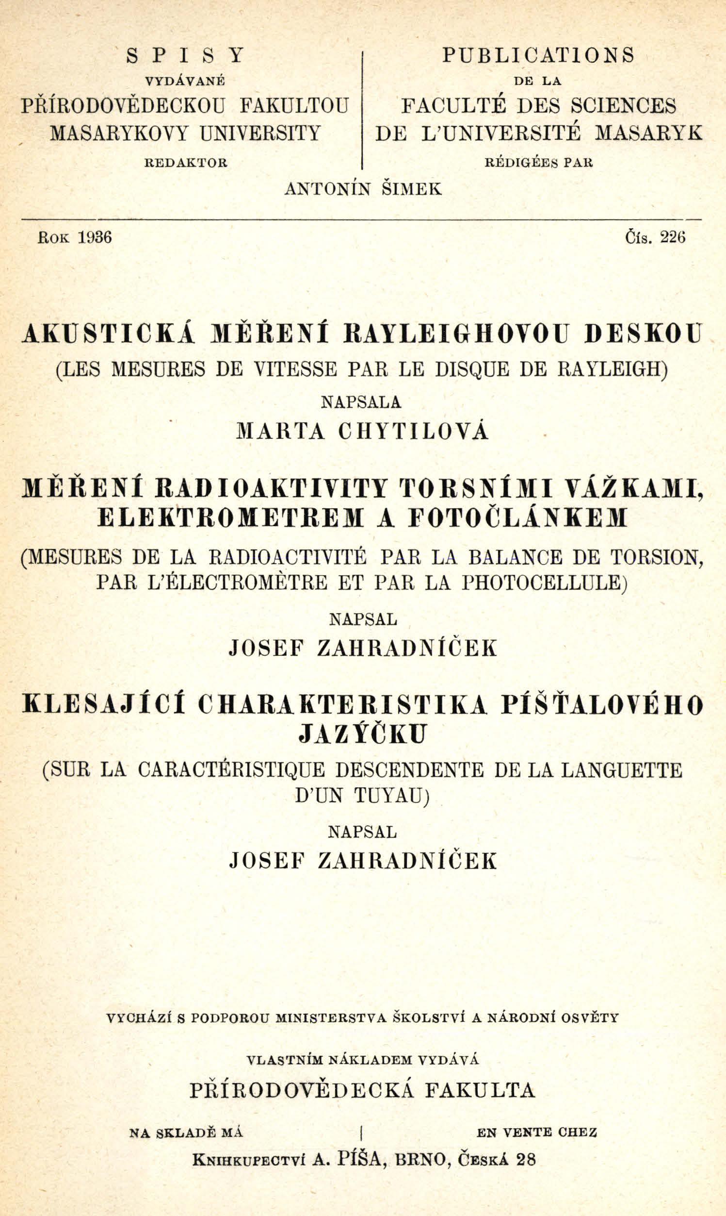 Obálka pro Akustická měření rayleighovou deskou