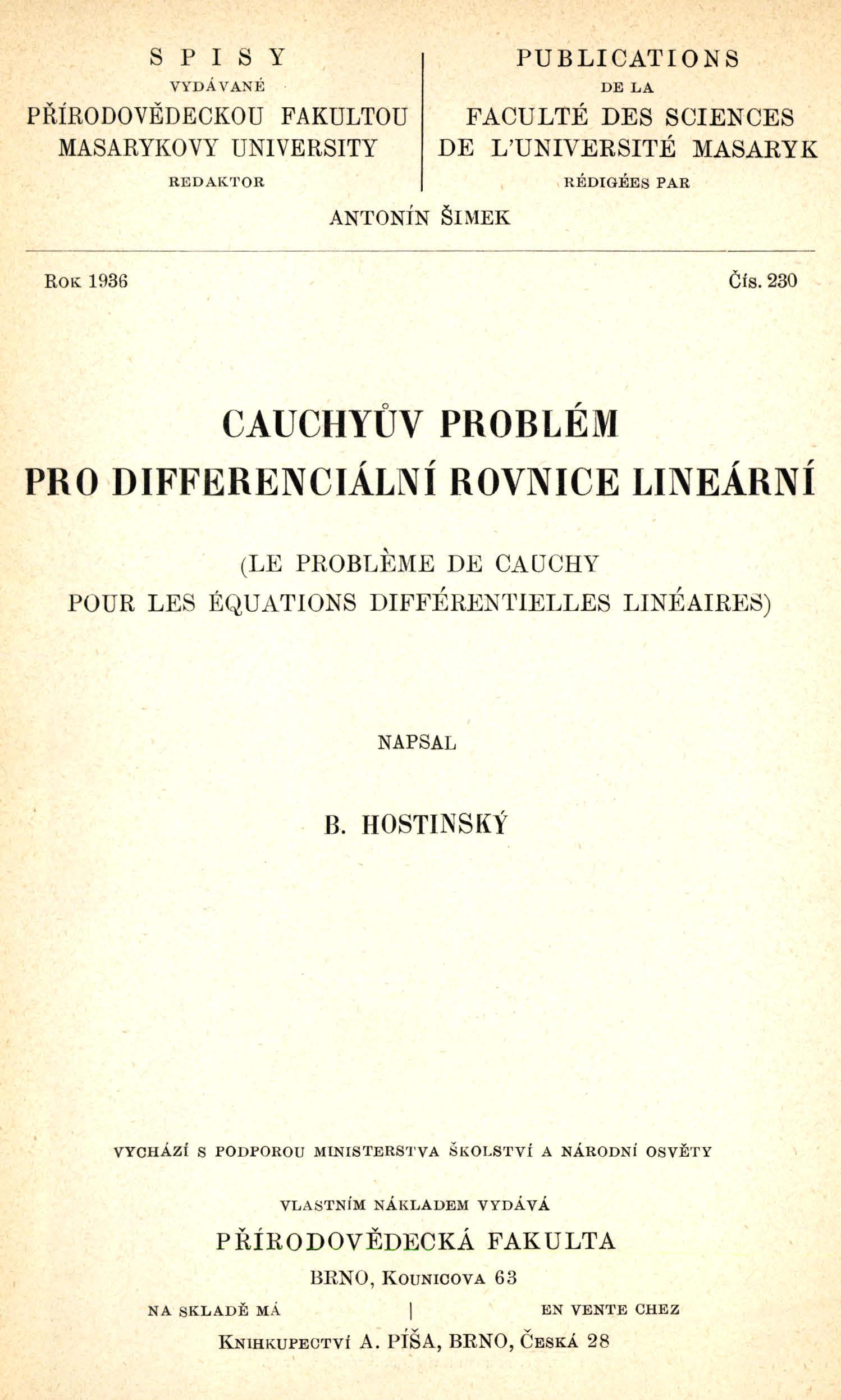 Obálka pro Cauchyův problém pro differenciální rovnice lineární