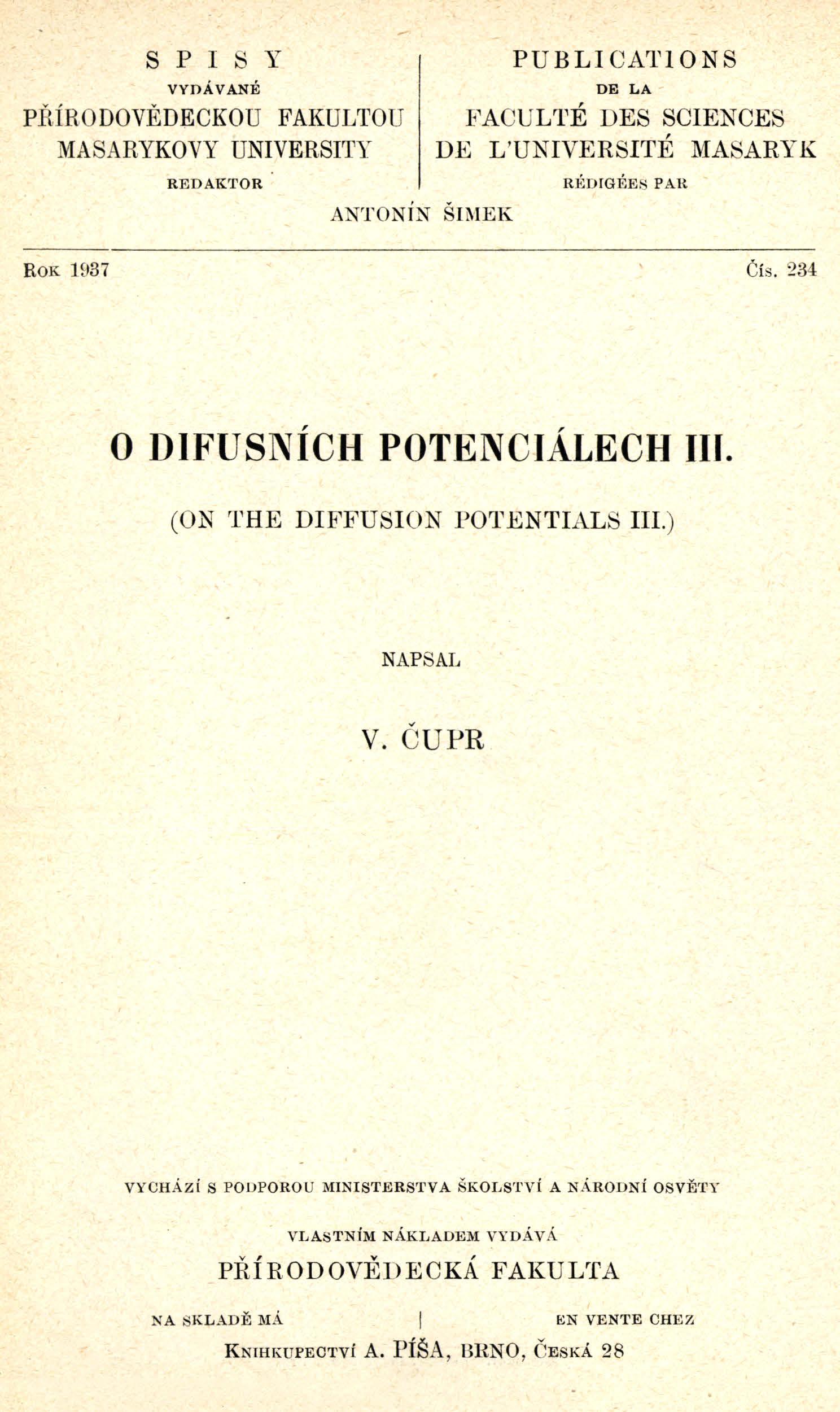 Obálka pro O difusních potenciálech. III.