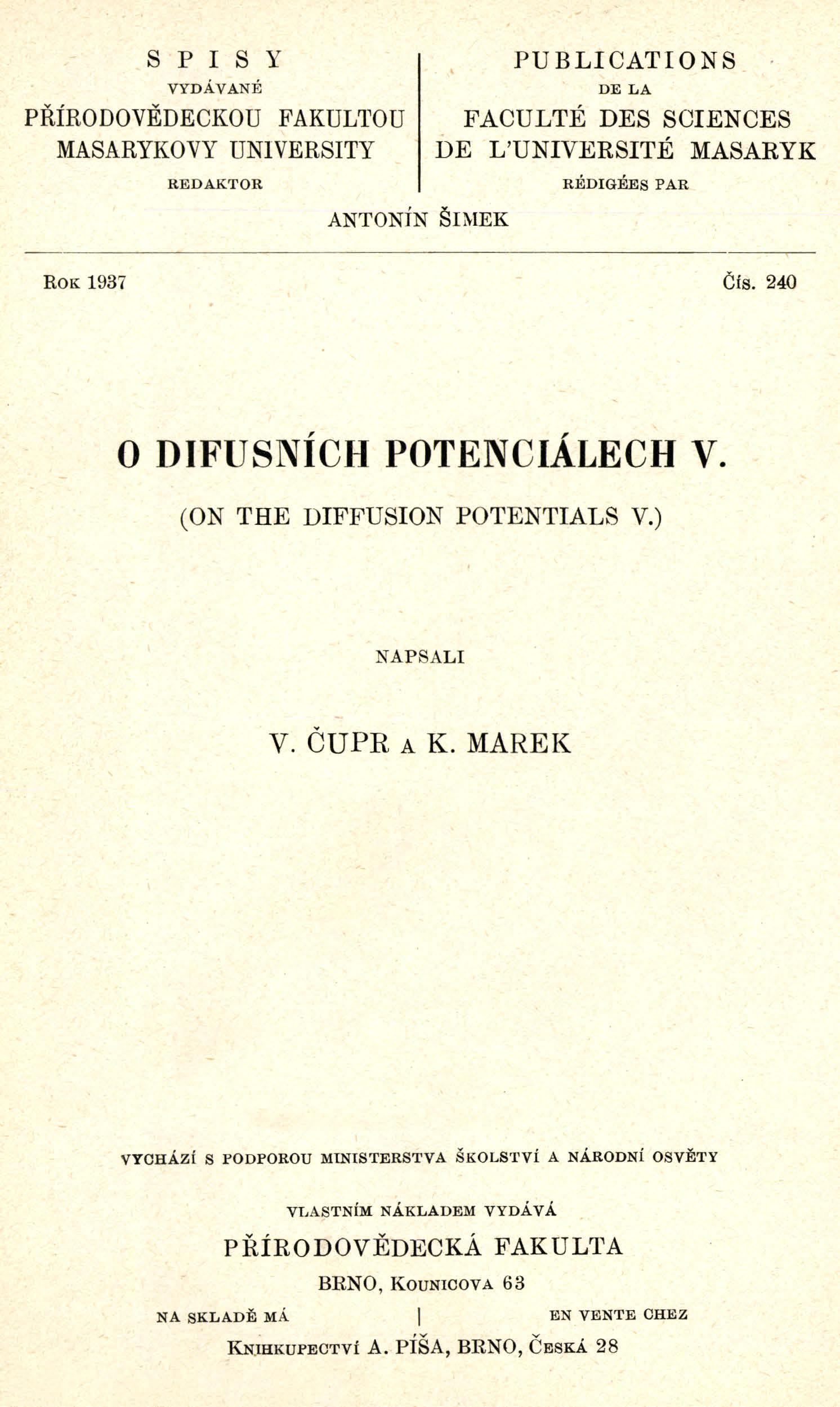 Obálka pro O difusních potenciálech V.