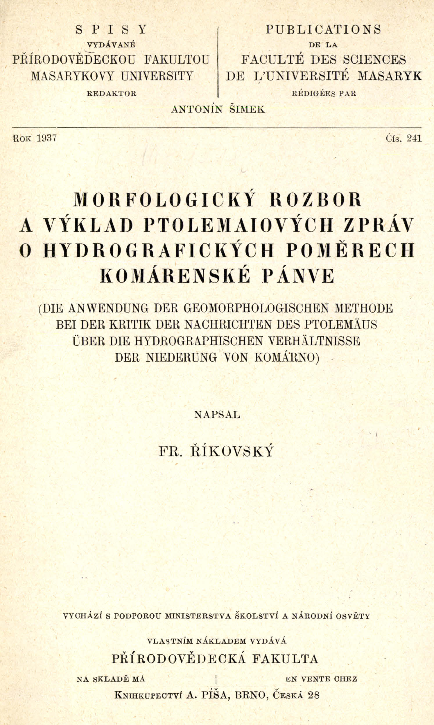 Obálka pro Morfologický rozbor a výklad Ptolemaiových zpráv o hydrografických poměrech komárenské pánve