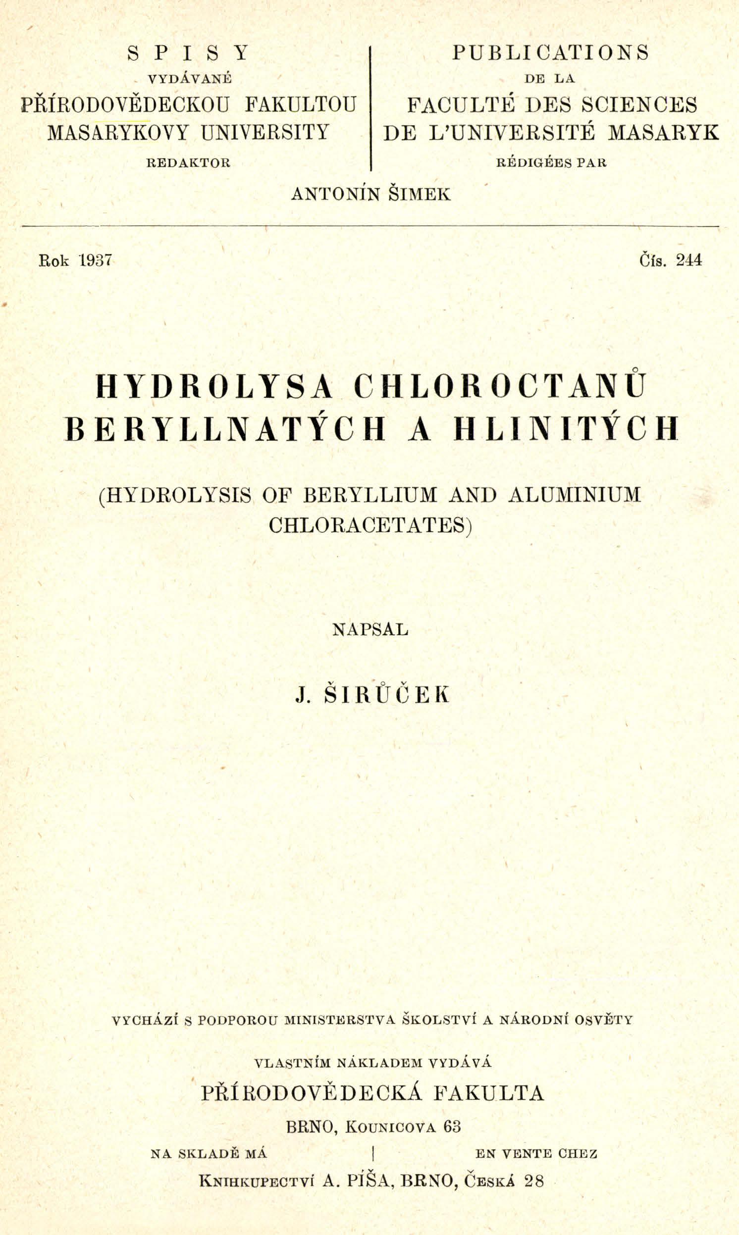 Obálka pro Hydrolysa chloroctanů beryllnatých a hlinitých
