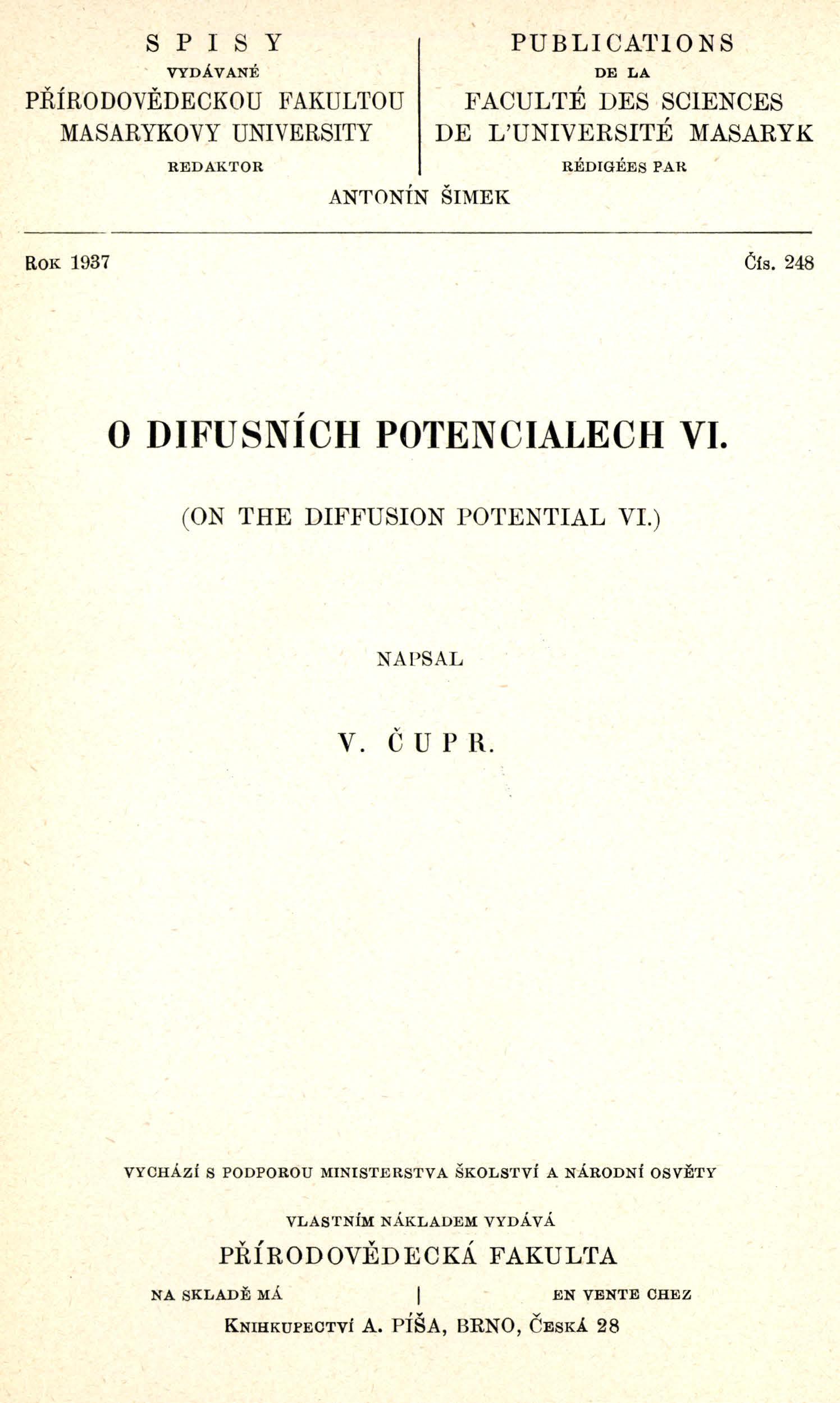 Obálka pro O difusních potenciálech VI.