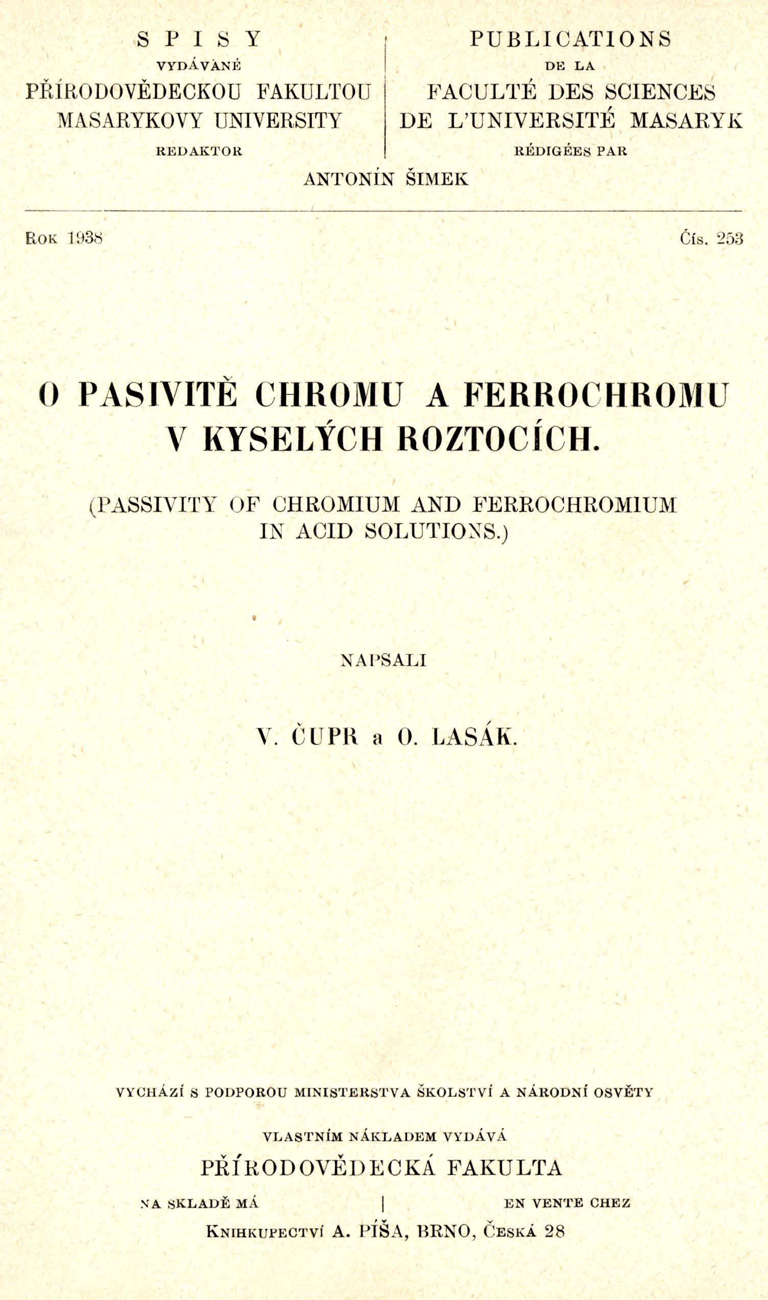 Obálka pro O pasivitě chromu a ferrochromu v kyselých roztocích