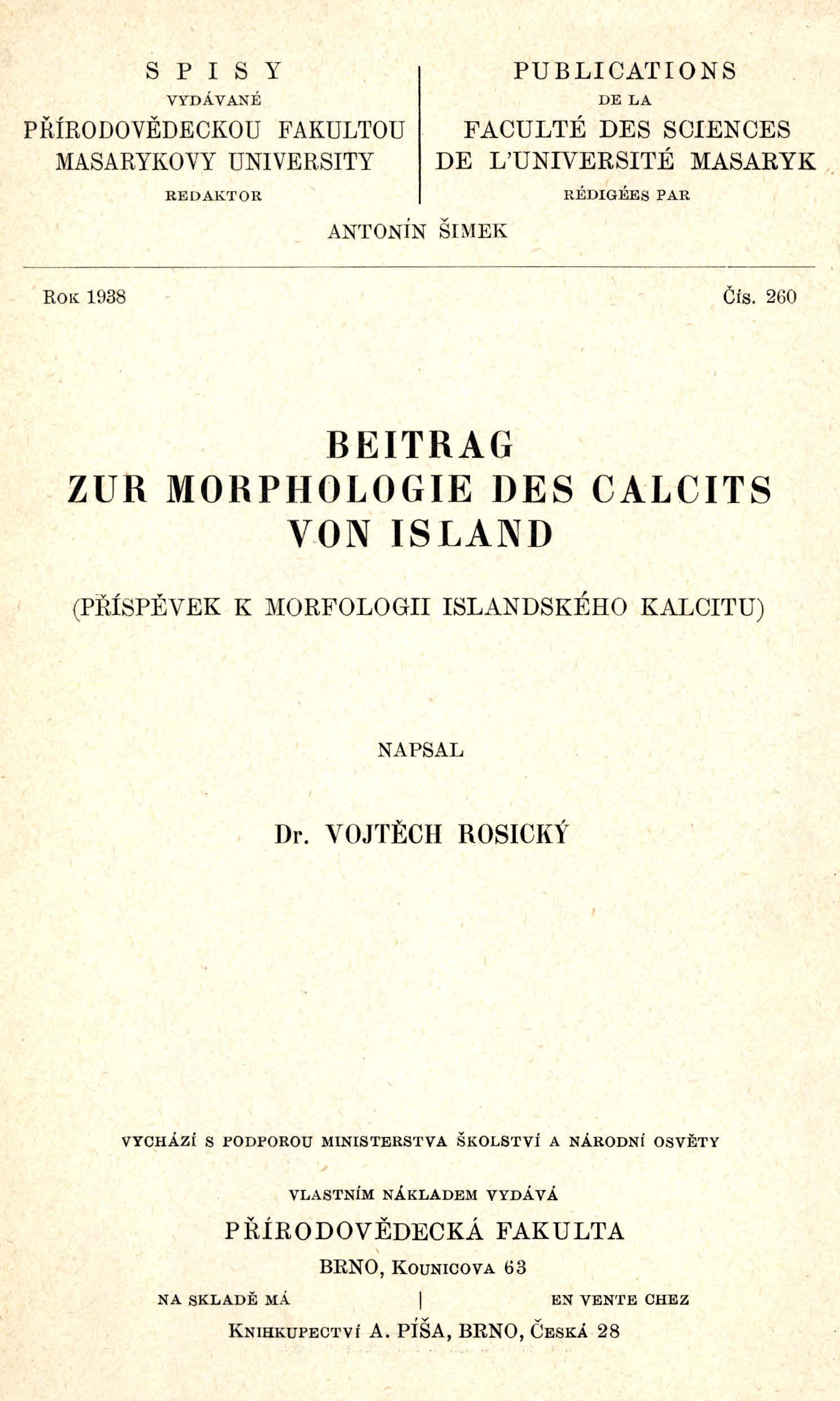 Obálka pro Beitrag zur Morphologie des Calcits von Island