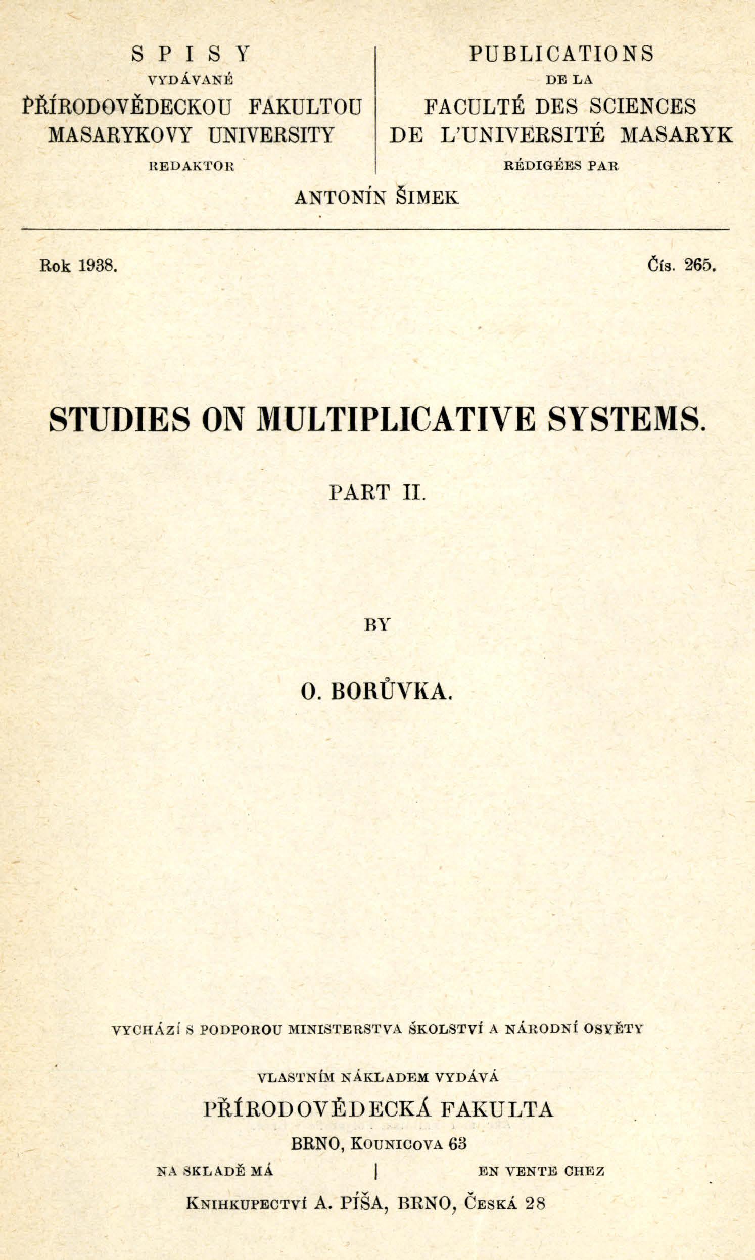 Obálka pro Studies on multiplicative systems. Part II.