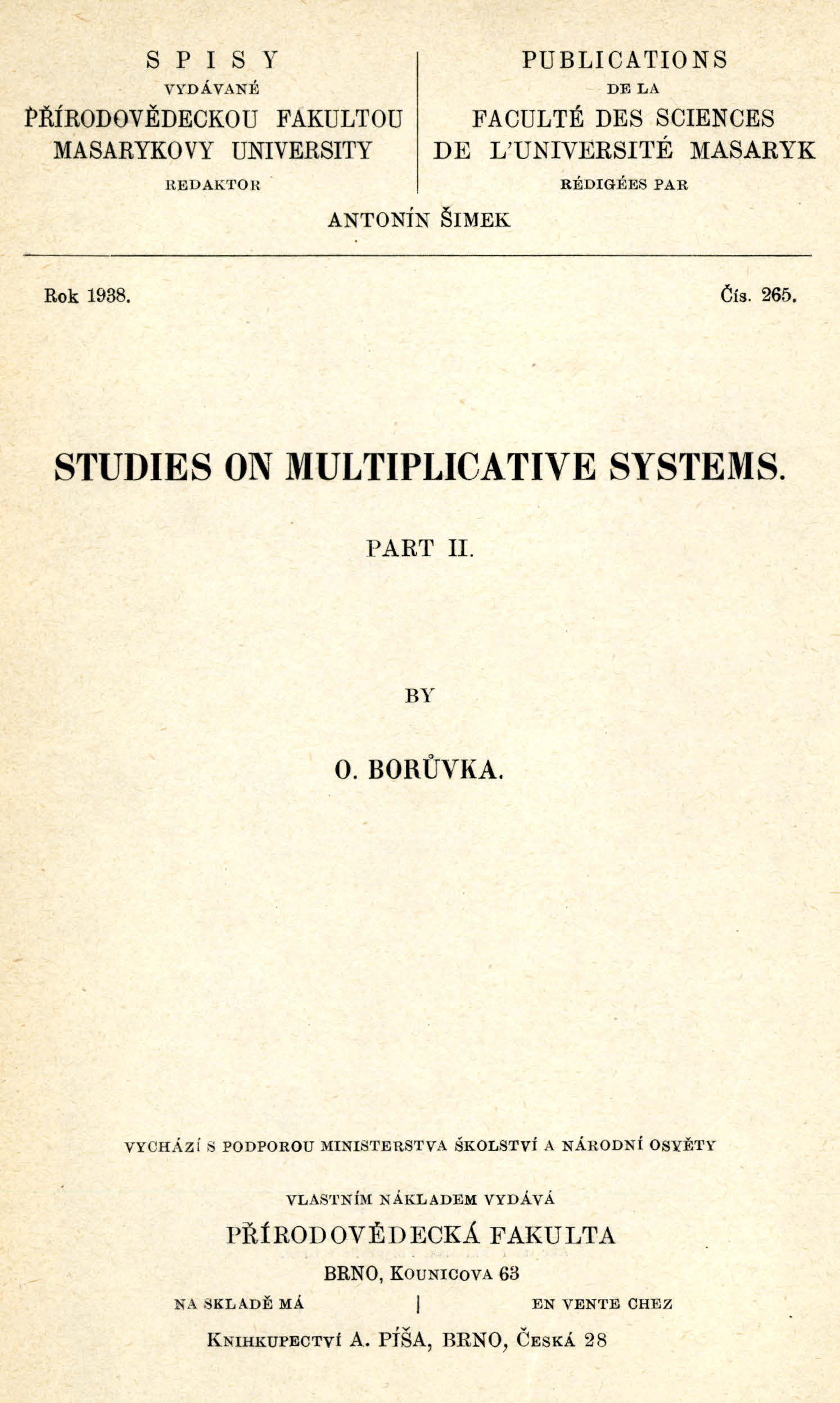 Obálka pro Studies on multiplicative systems. Part II.