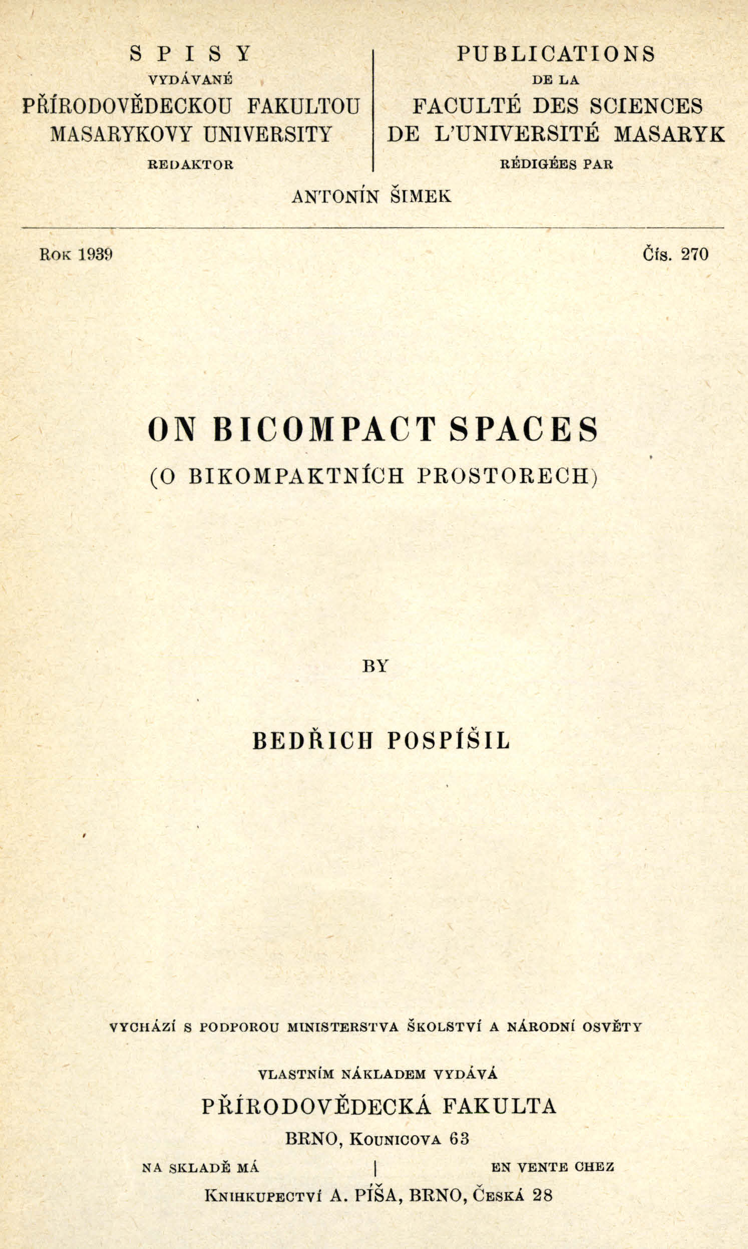 Obálka pro On bicompact spaces