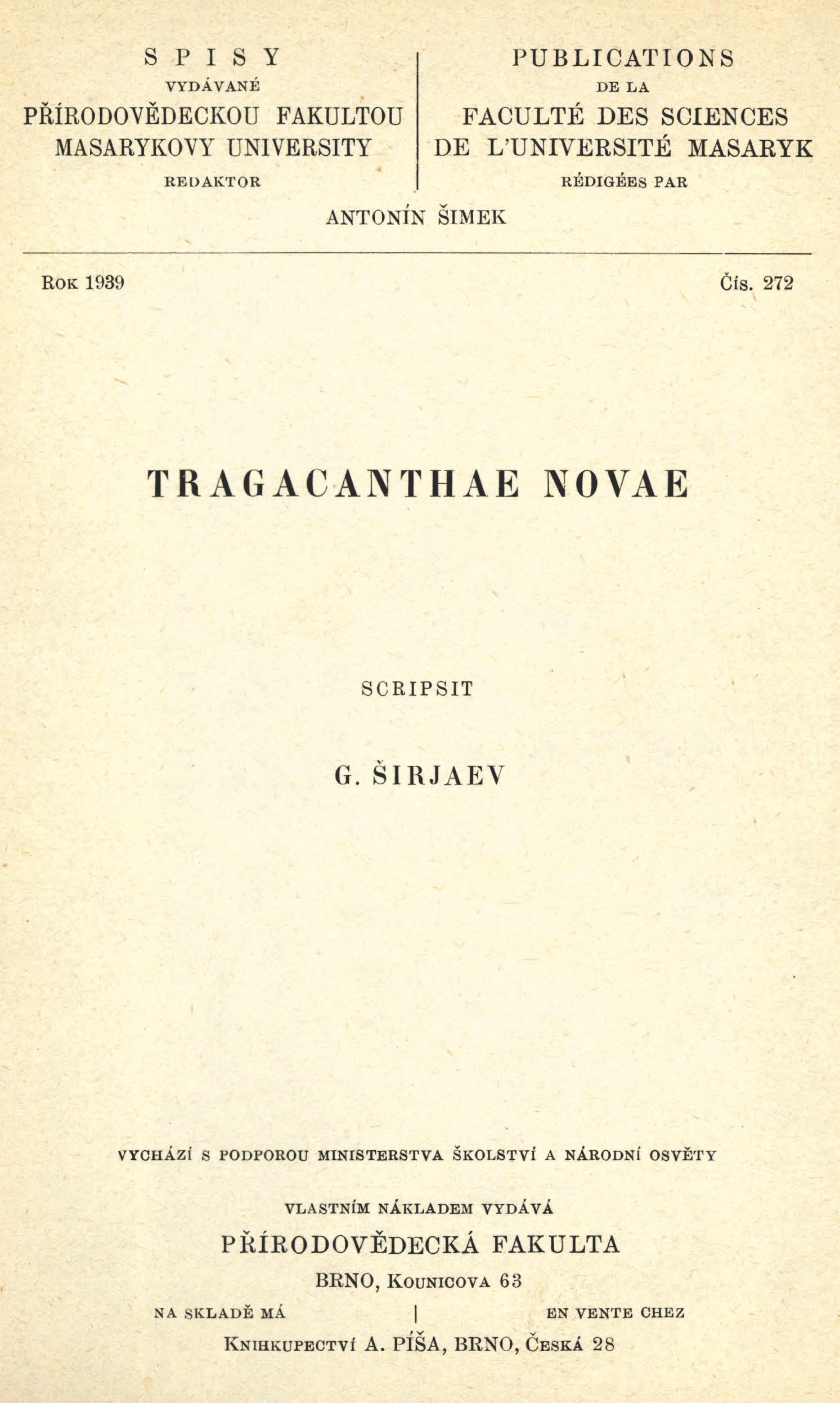 Obálka pro Tragacanthae novae