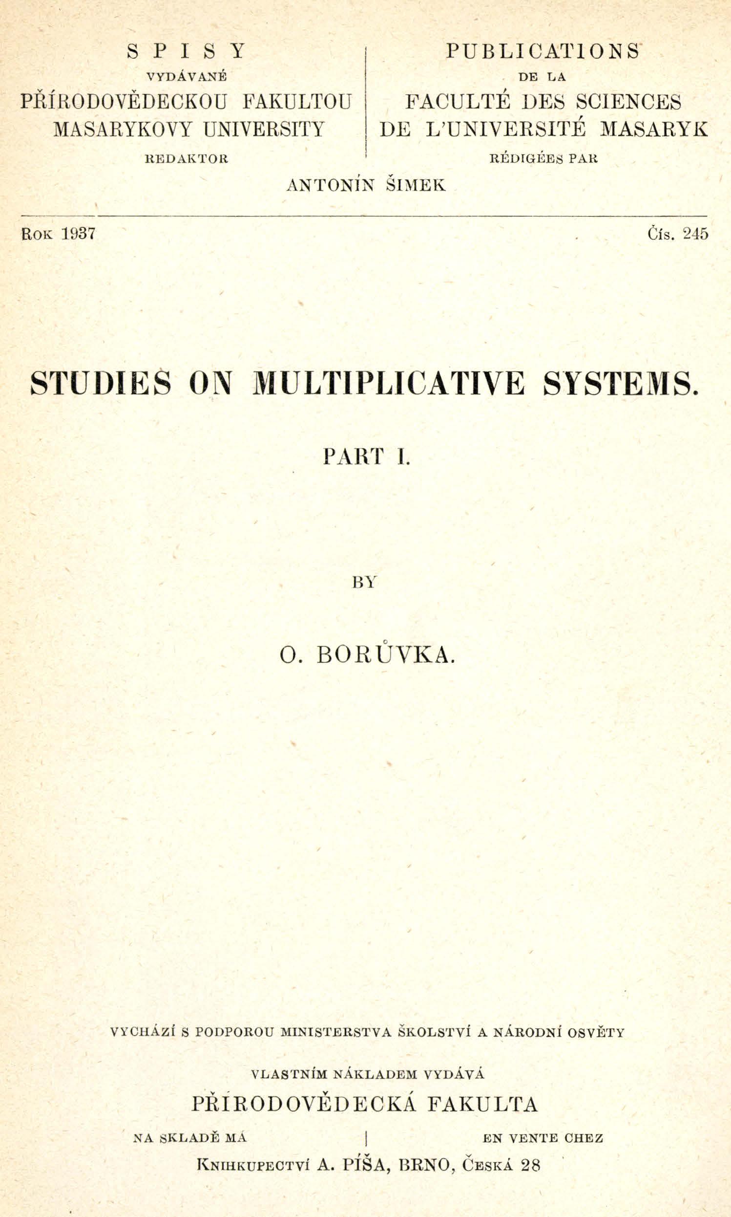 Obálka pro Studies on multiplicative systems. Part I