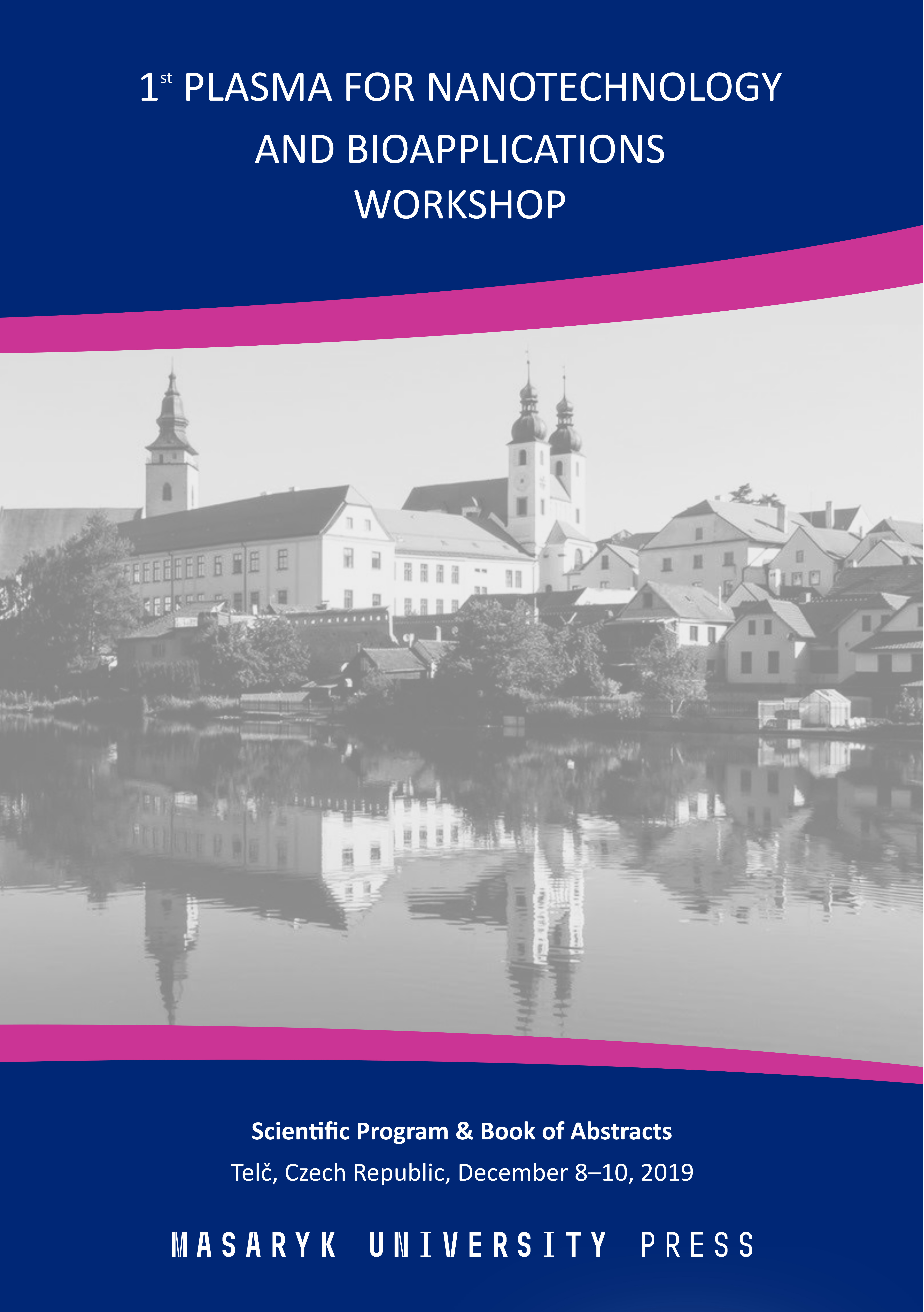 Obálka pro Book of Abstracts, 1st Plasma for Nanotechnology and Bioapplications Workshop