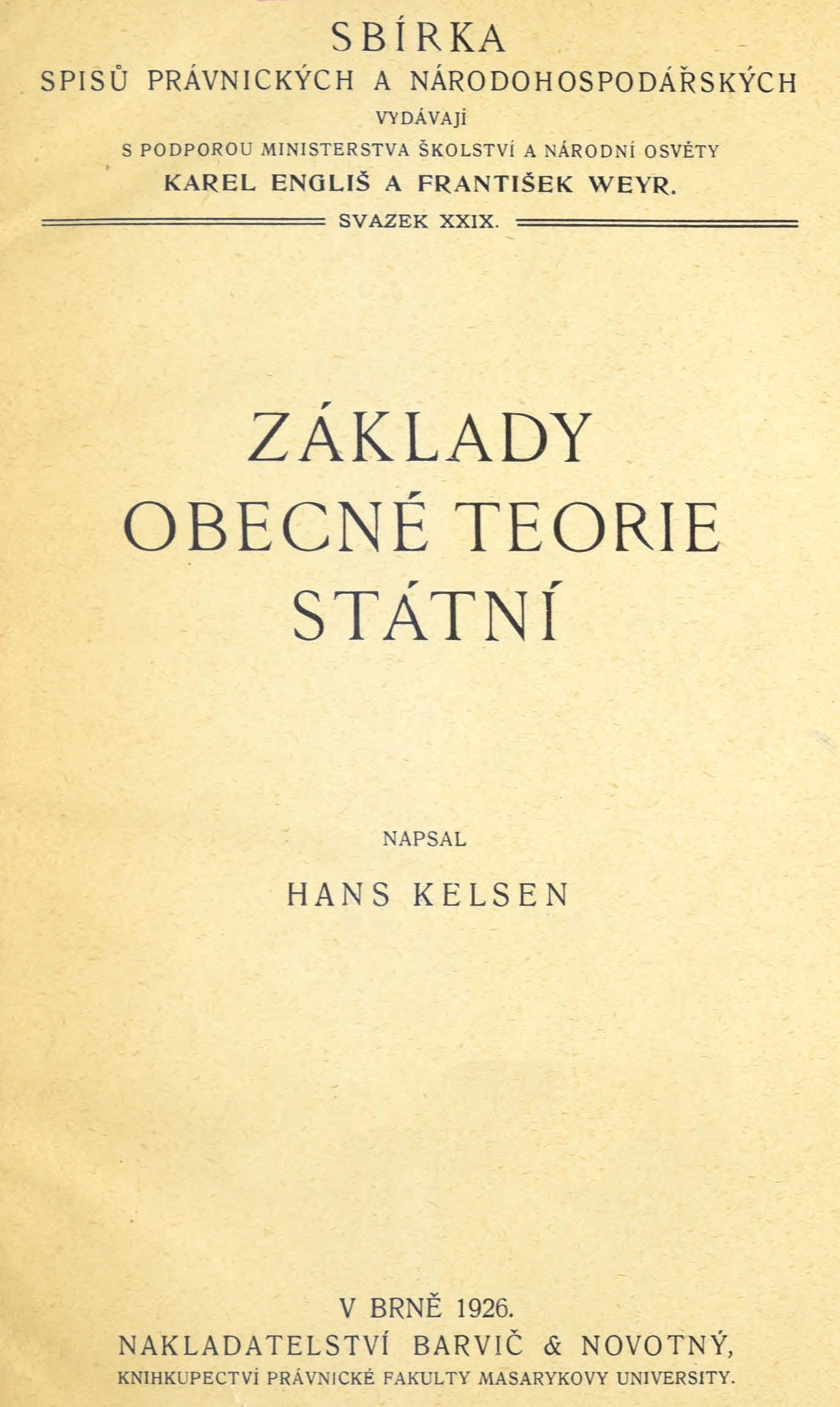 Obálka pro Základy obecné teorie státní