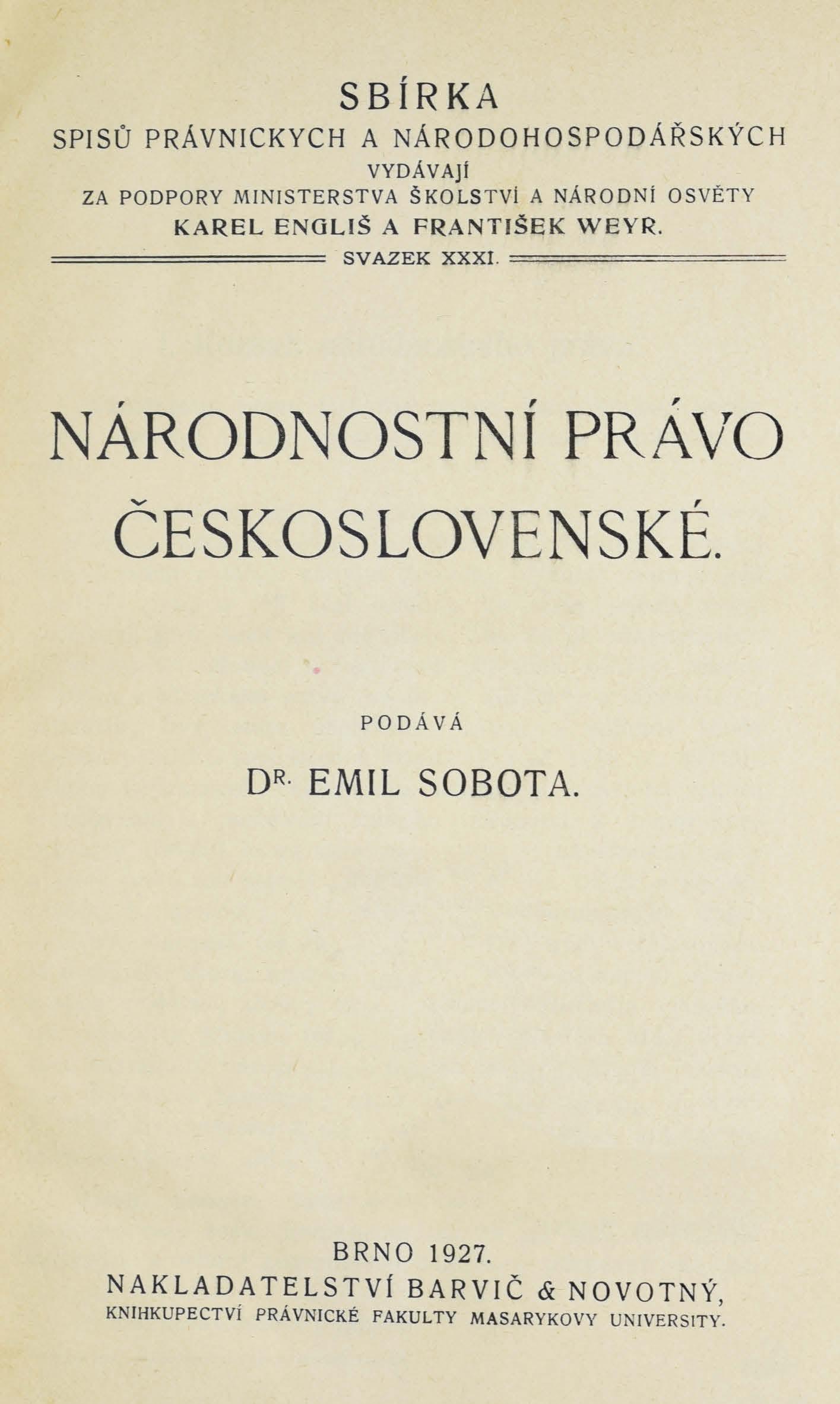 Obálka pro Národnostní právo československé