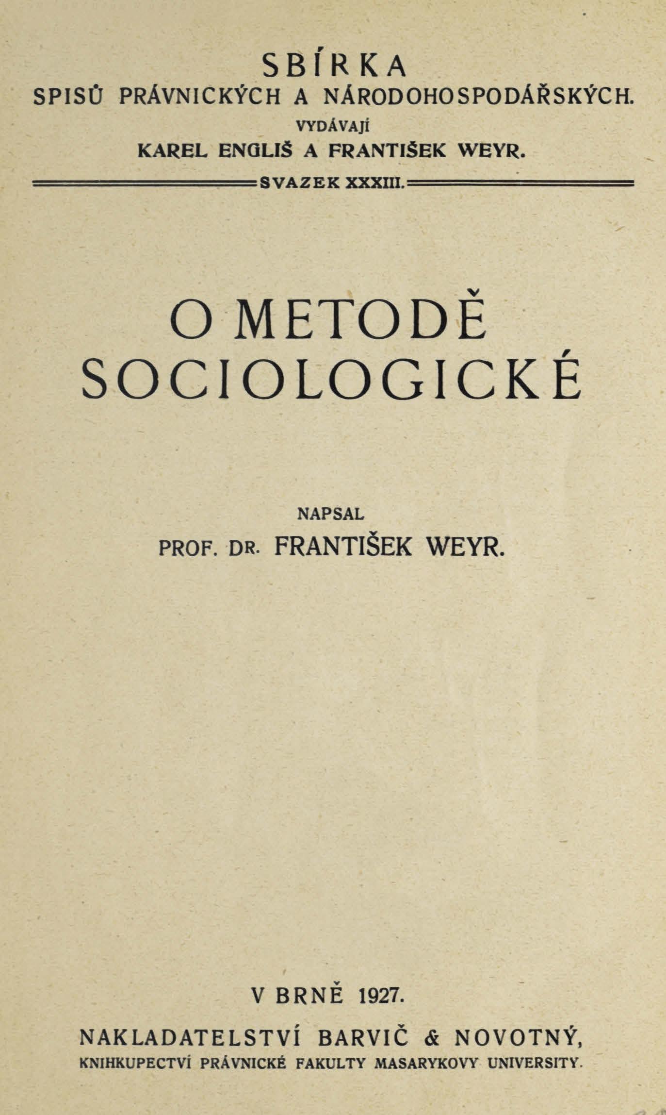 Obálka pro O metodě sociologické