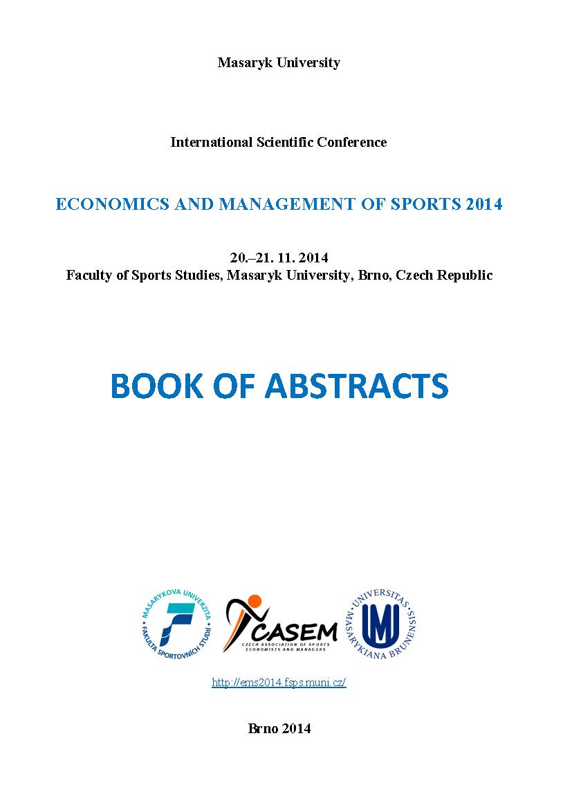Obálka pro Economics and Management of Sports 2014. Book of Abstracts