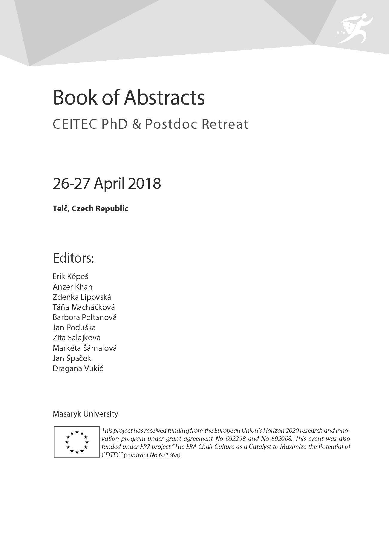 Obálka pro CEITEC PhD & Postdoc Retreat. Book of Abstracts