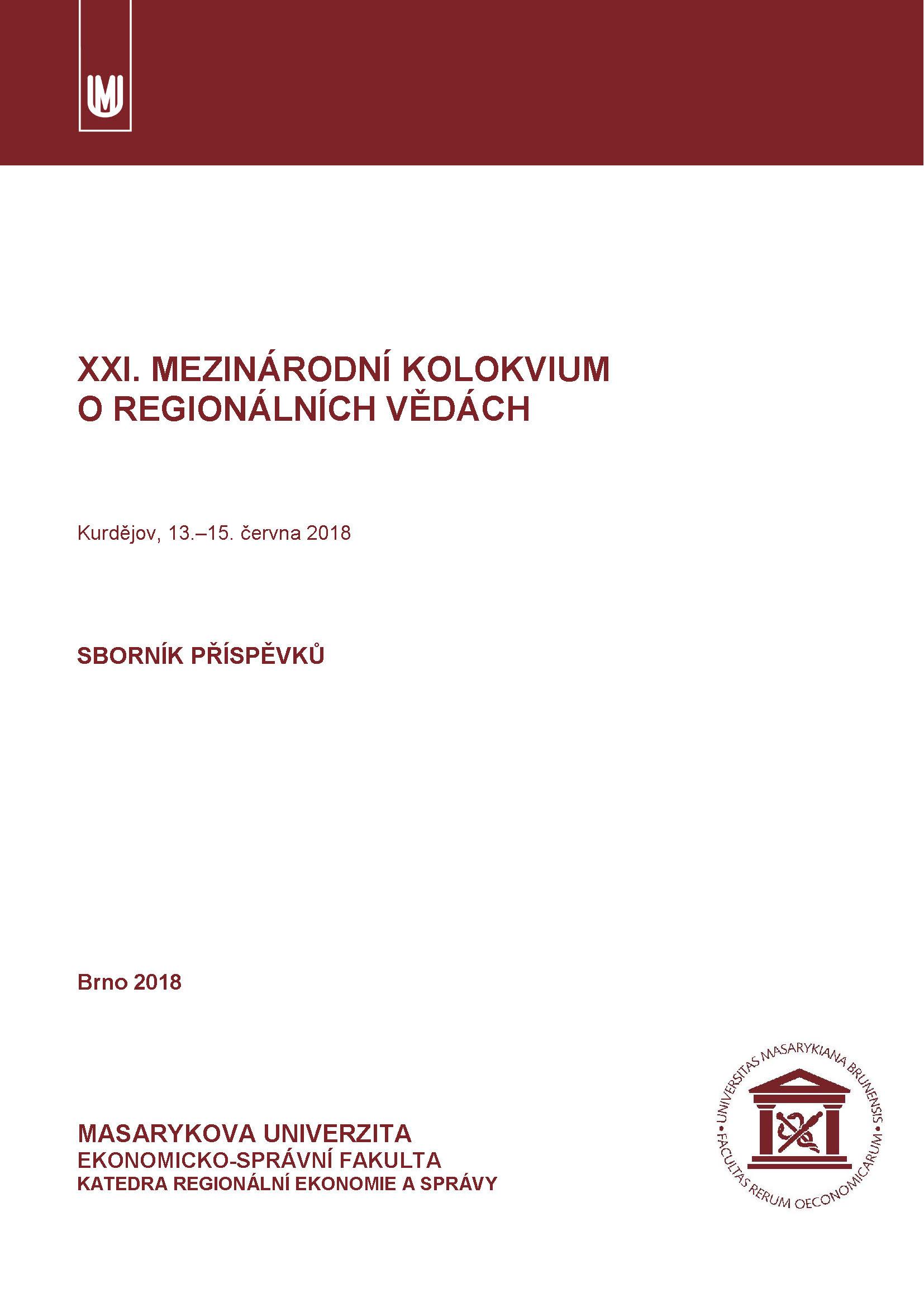 Obálka pro XXI. mezinárodní kolokvium o regionálních vědách. Sborník příspěvků