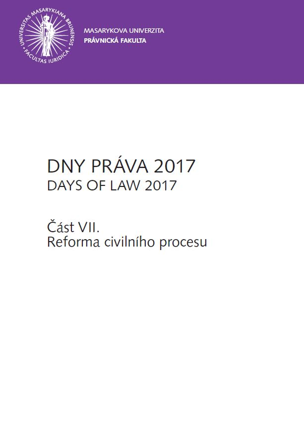 Obálka pro DNY PRÁVA 2017. Část VII. - Reforma civilního procesu