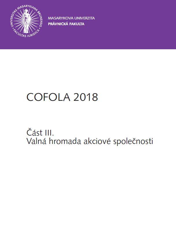 Obálka pro COFOLA 2018. Část III. - Valná hromada akciové společnosti