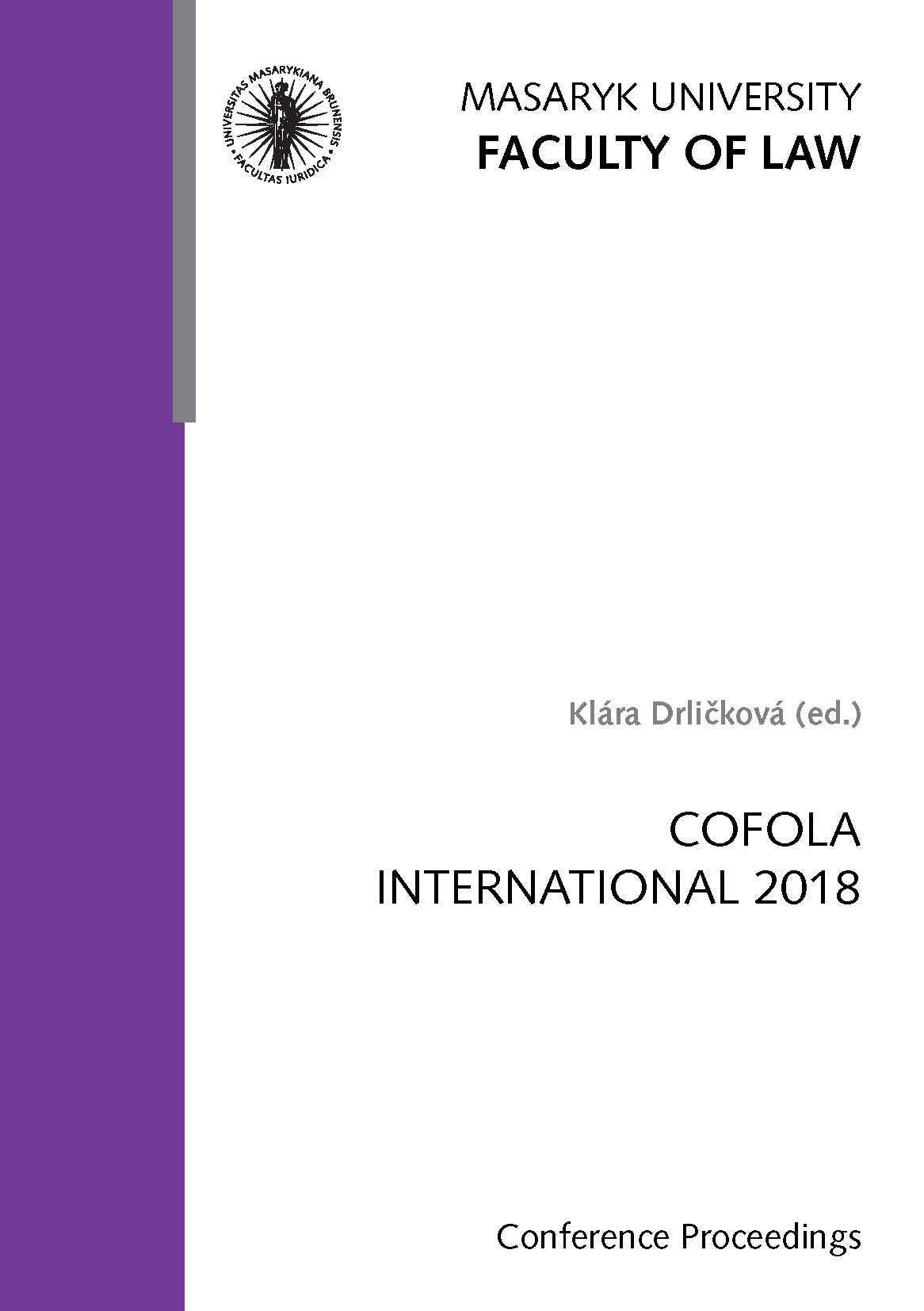 Obálka pro COFOLA International 2018. Conference Proceedings