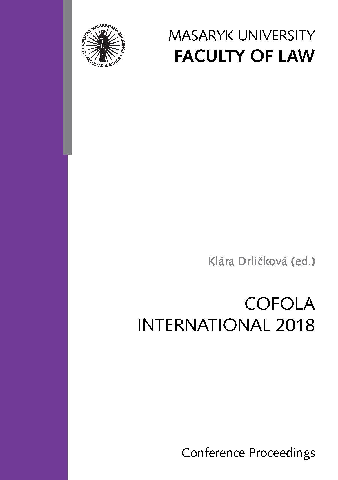 Obálka pro COFOLA International 2018. Conference Proceedings